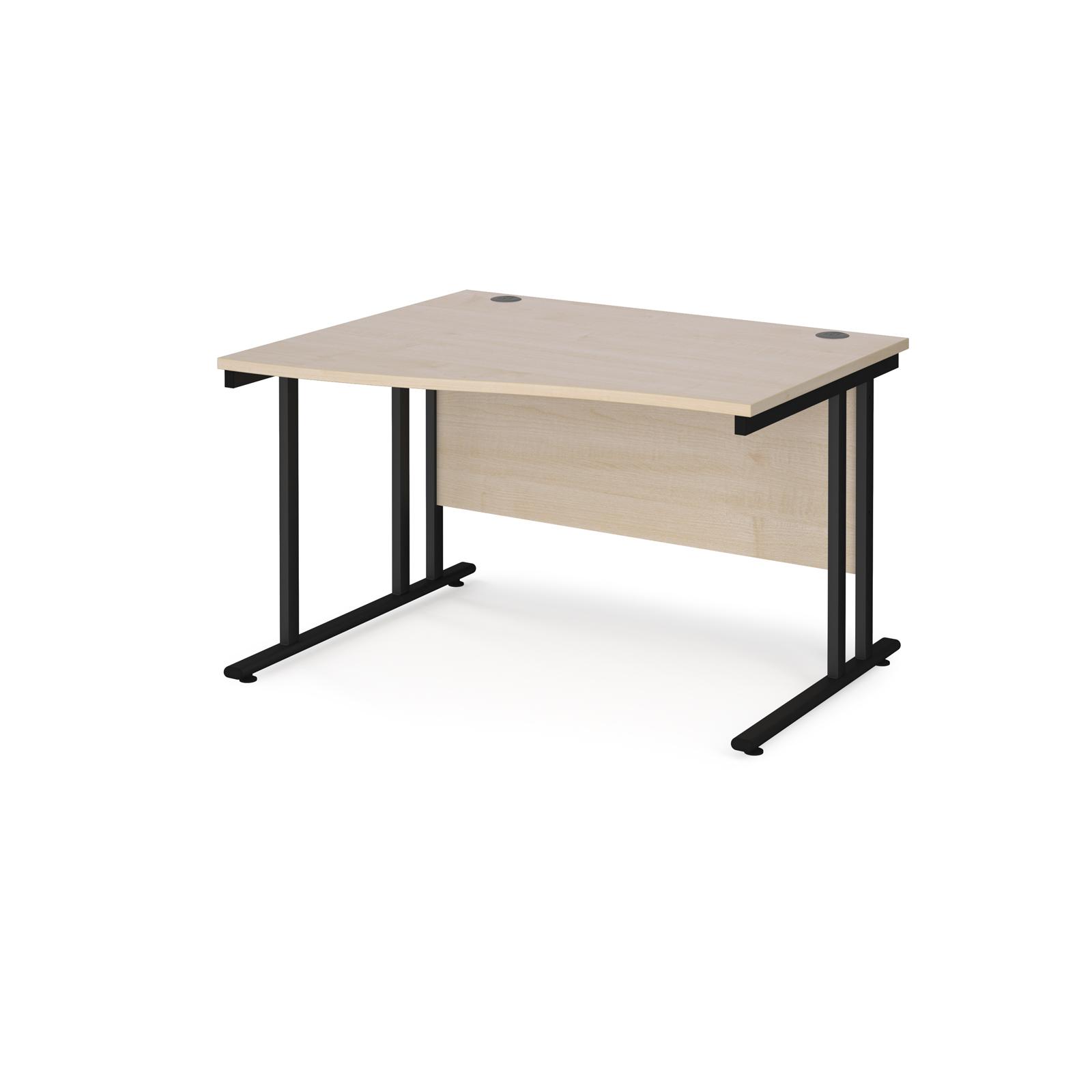 Left Handed Maestro 25 left hand wave desk 1200mm wide - black cantilever leg frame, maple top