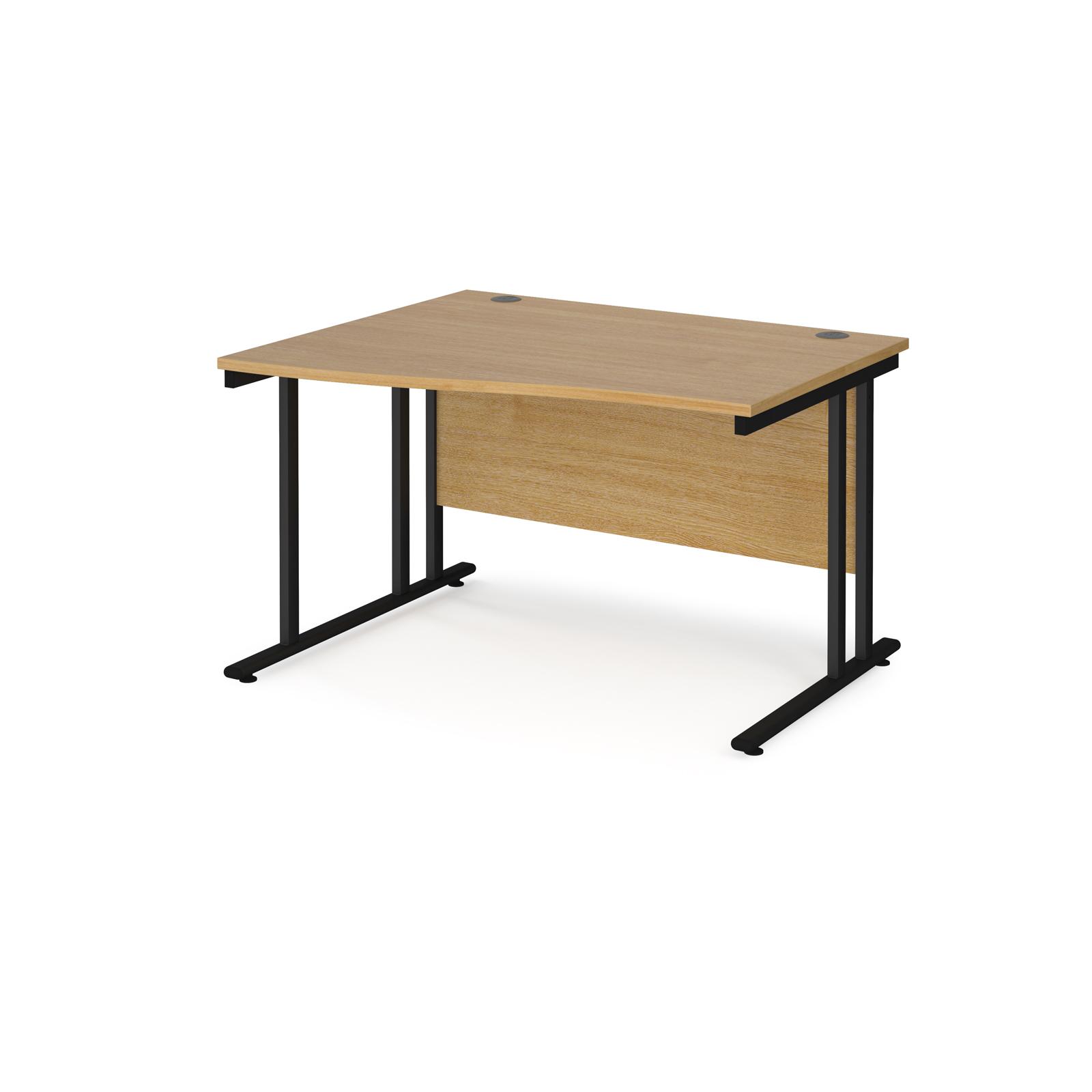 Left Handed Maestro 25 left hand wave desk 1200mm wide - black cantilever leg frame, oak top