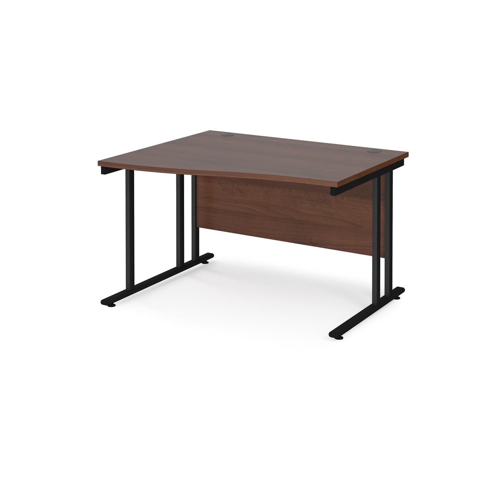 Left Handed Maestro 25 left hand wave desk 1200mm wide - black cantilever leg frame, walnut top