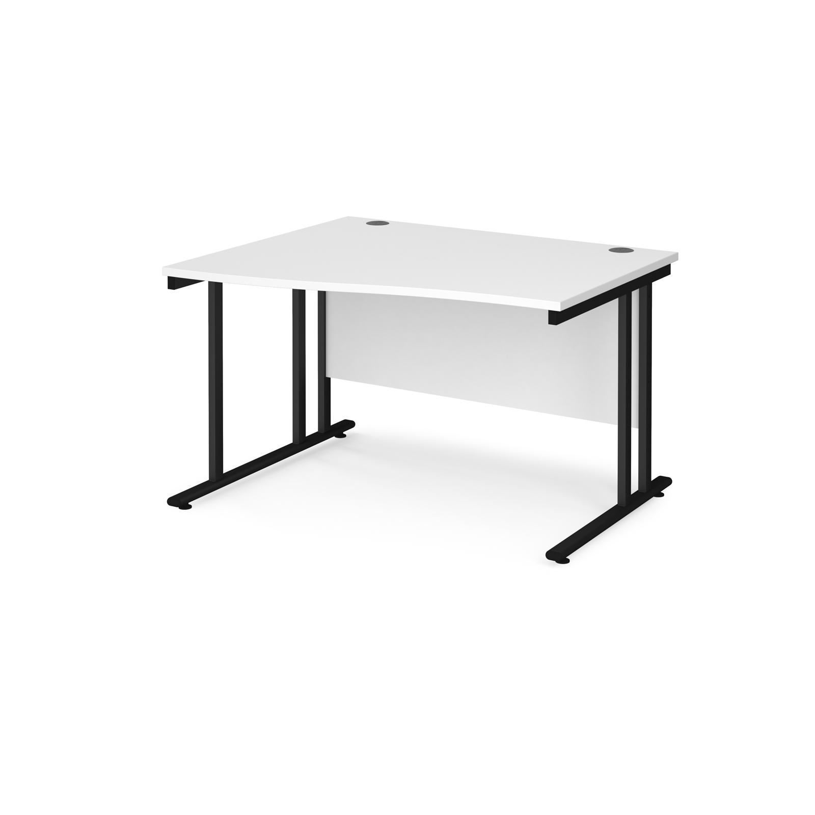 Left Handed Maestro 25 left hand wave desk 1200mm wide - black cantilever leg frame, white top