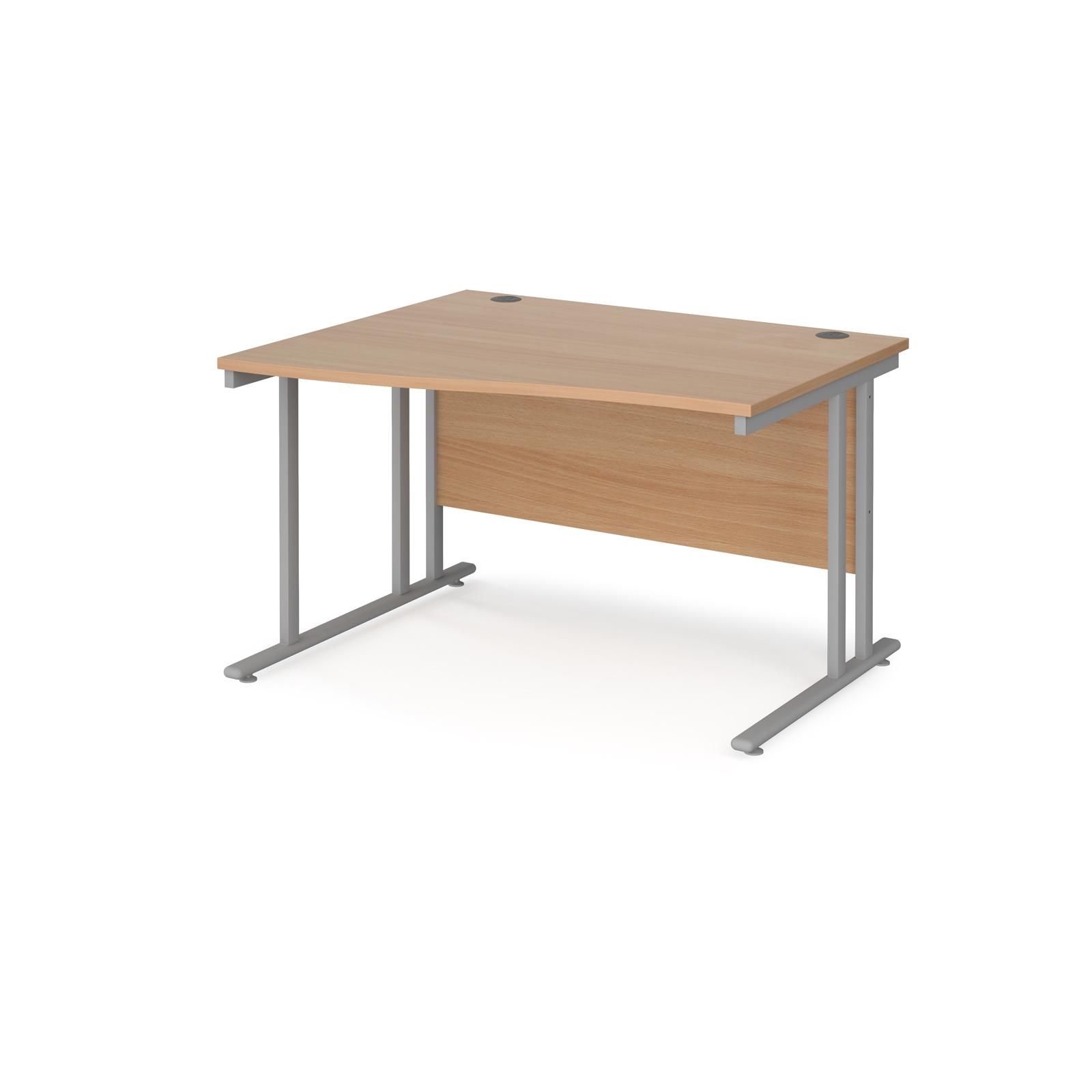 Left Handed Maestro 25 left hand wave desk 1200mm wide - silver cantilever leg frame, beech top