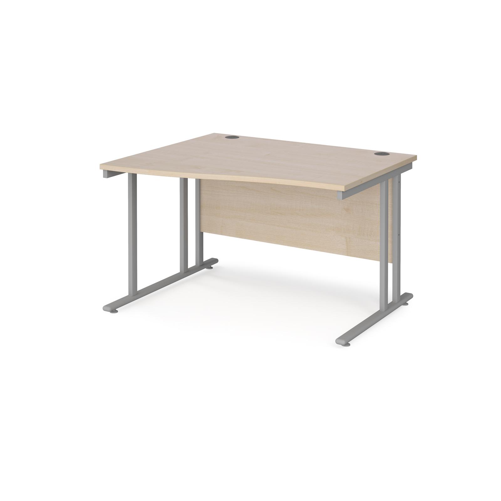 Left Handed Maestro 25 left hand wave desk 1200mm wide - silver cantilever leg frame, maple top