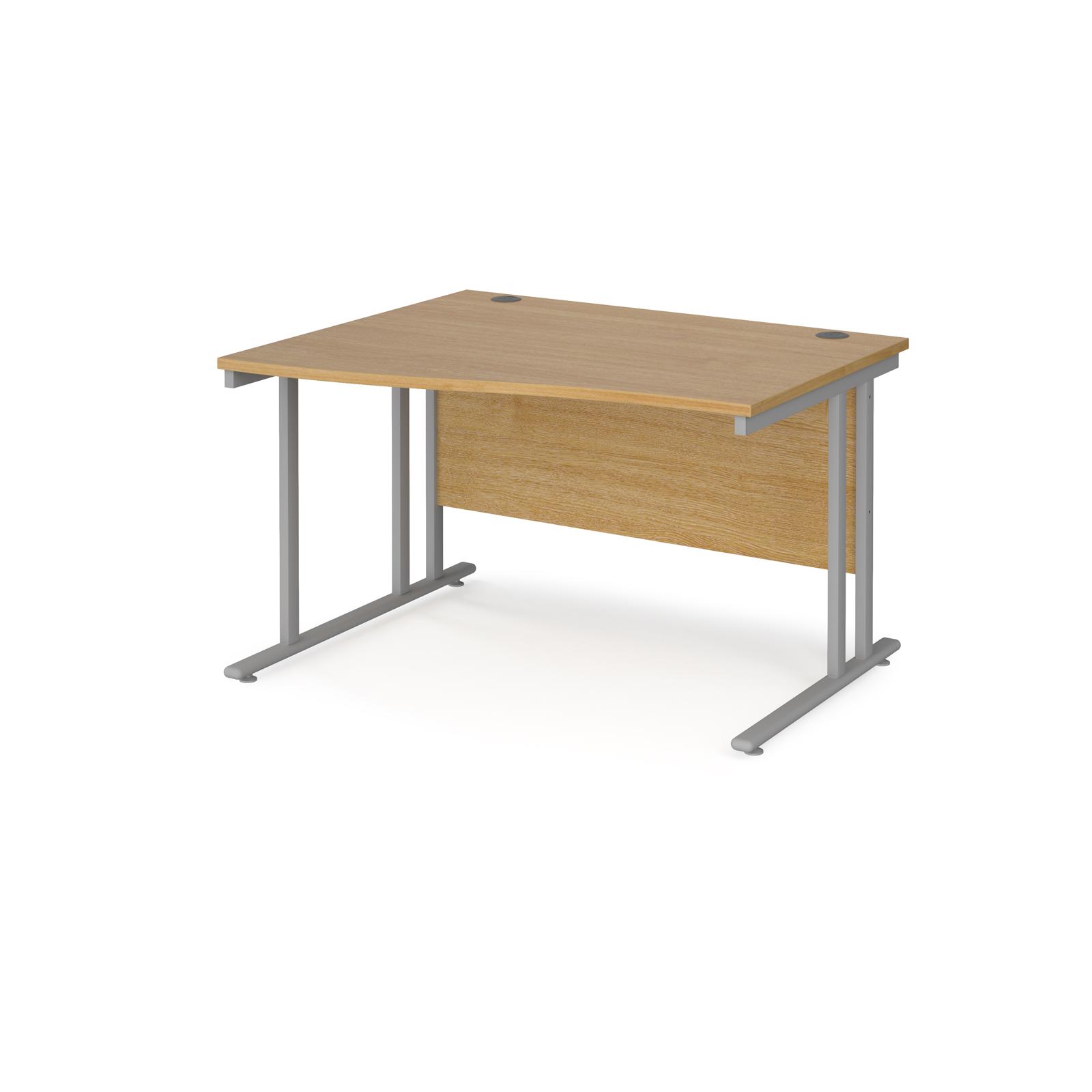 Left Handed Maestro 25 left hand wave desk 1200mm wide - silver cantilever leg frame, oak top
