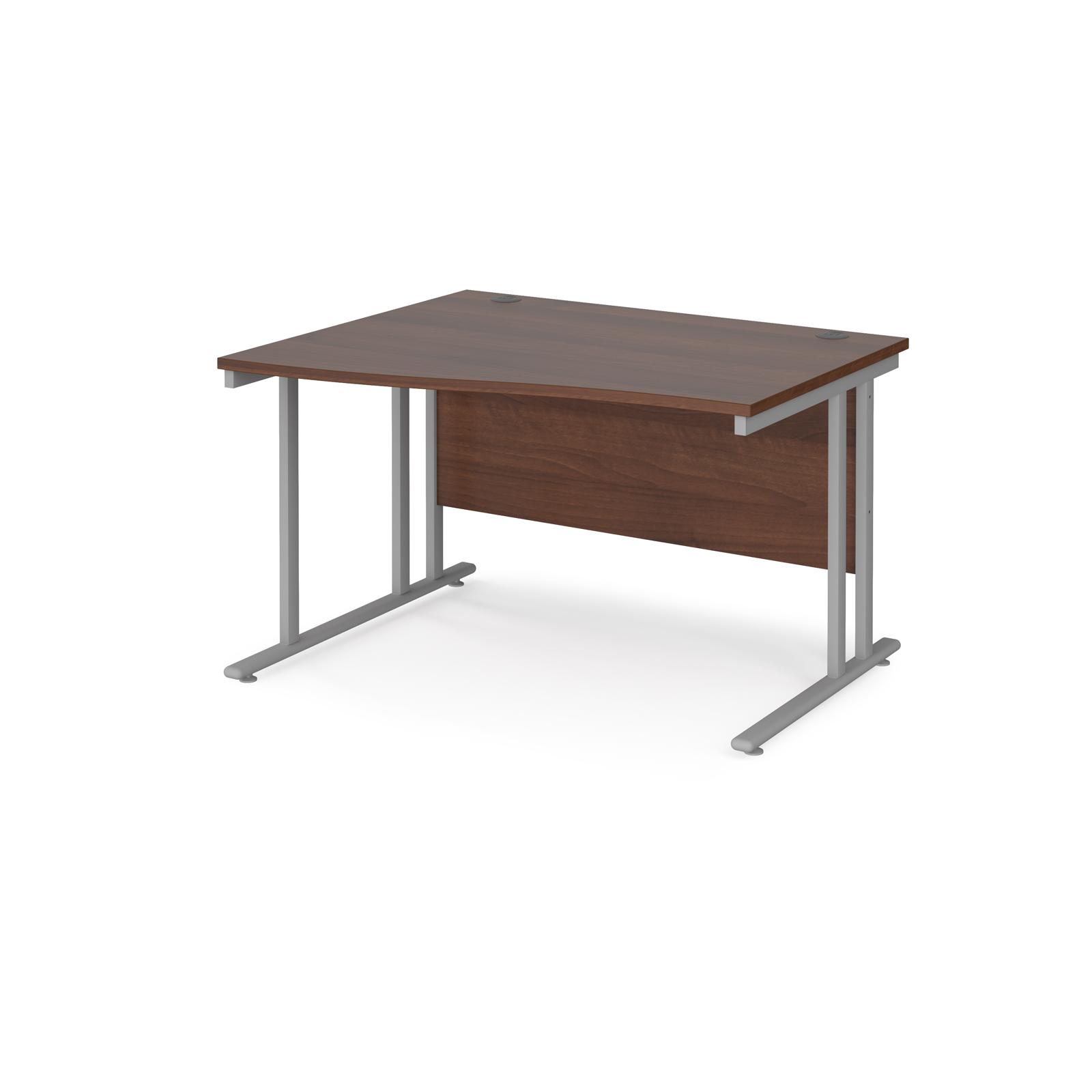 Left Handed Maestro 25 left hand wave desk 1200mm wide - silver cantilever leg frame, walnut top