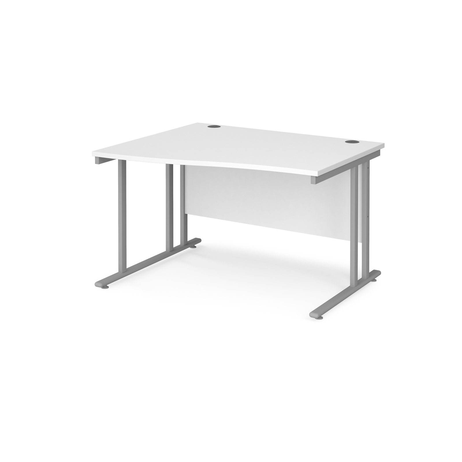 Left Handed Maestro 25 left hand wave desk 1200mm wide - silver cantilever leg frame, white top