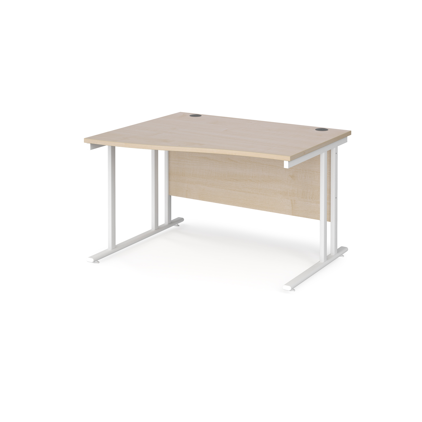 Left Handed Maestro 25 left hand wave desk 1200mm wide - white cantilever leg frame, maple top