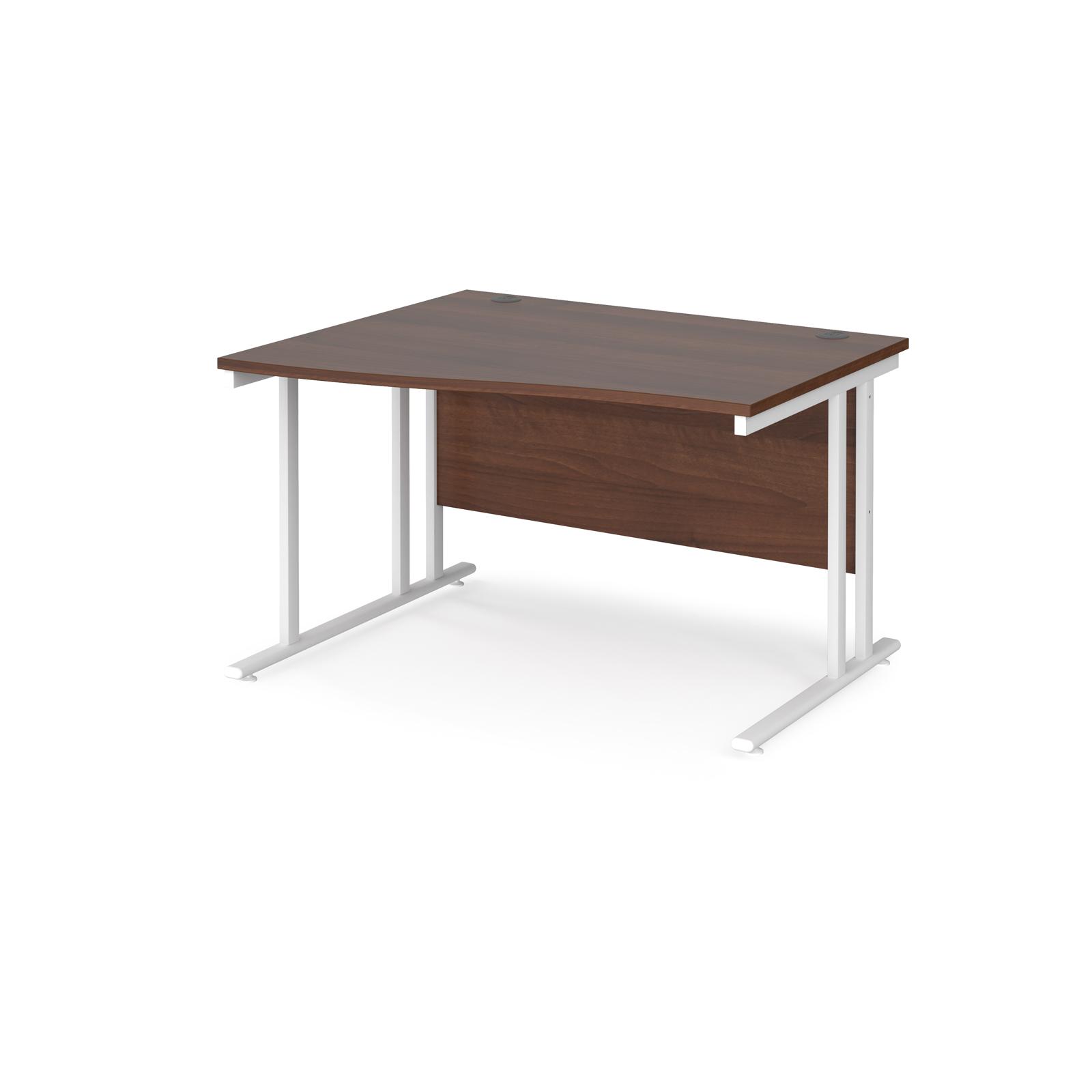 Left Handed Maestro 25 left hand wave desk 1200mm wide - white cantilever leg frame, walnut top