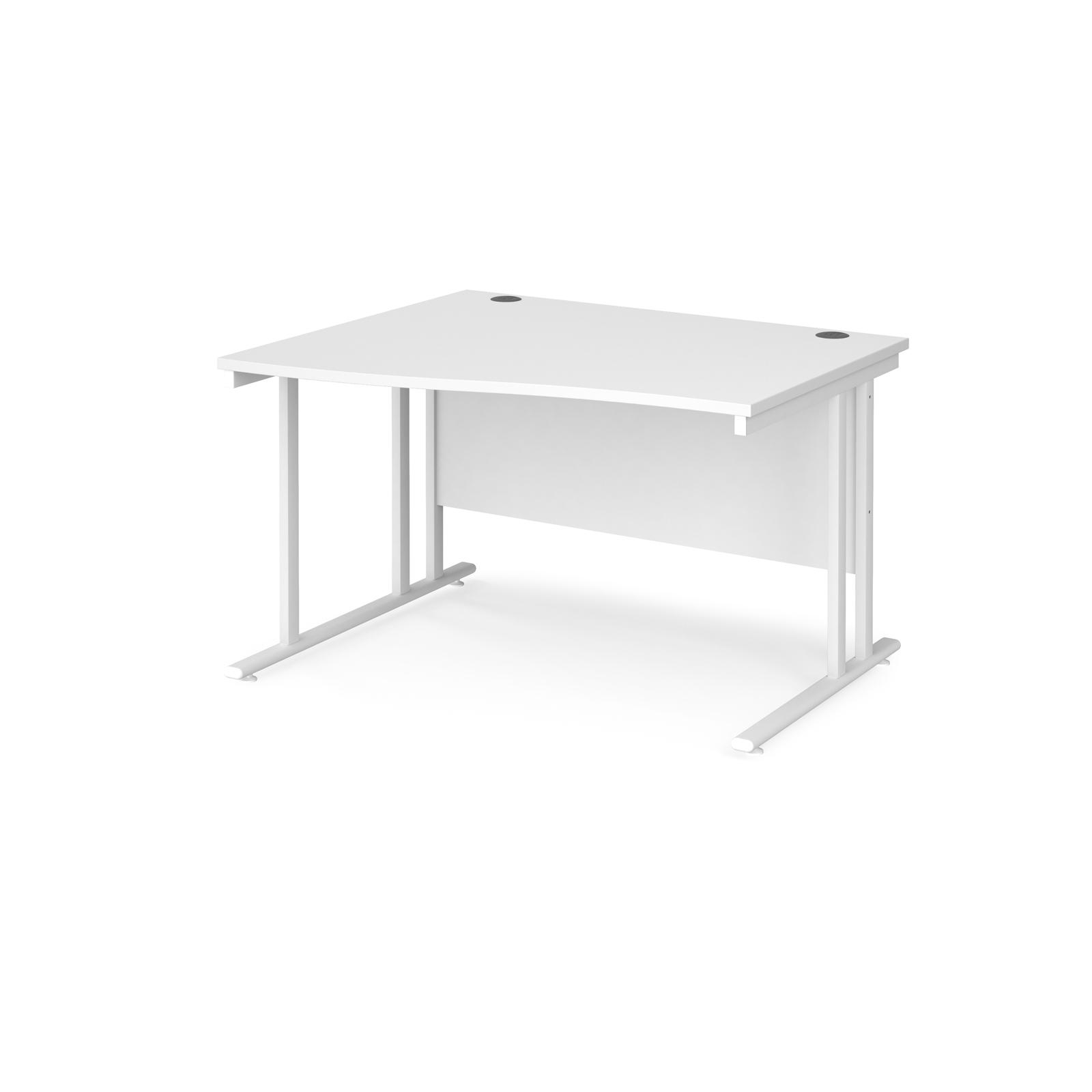 Left Handed Maestro 25 left hand wave desk 1200mm wide - white cantilever leg frame, white top