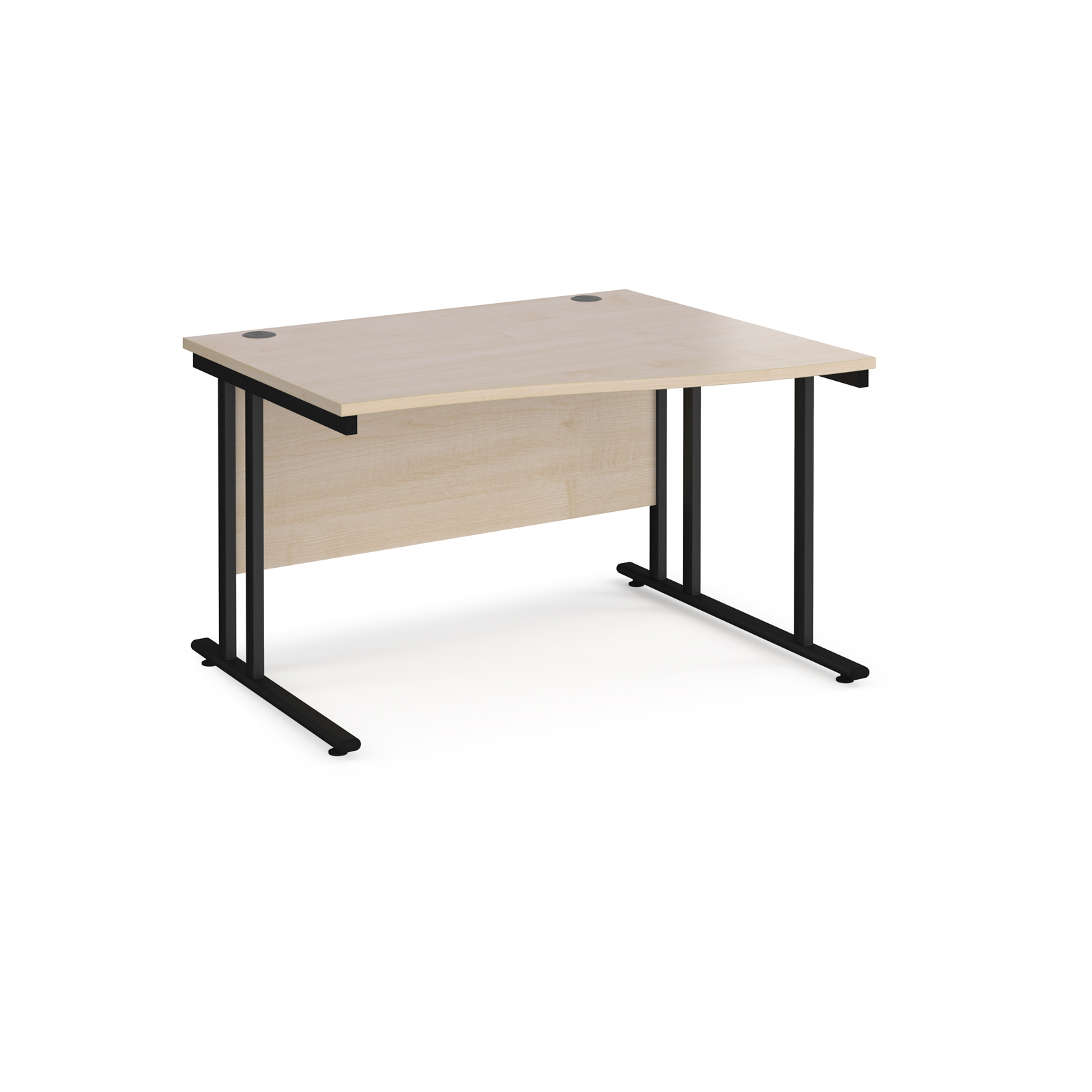 Right Handed Maestro 25 right hand wave desk 1200mm wide - black cantilever leg frame, maple top