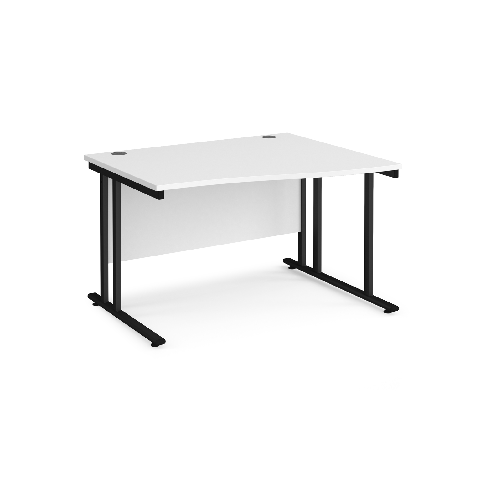Right Handed Maestro 25 right hand wave desk 1200mm wide - black cantilever leg frame, white top