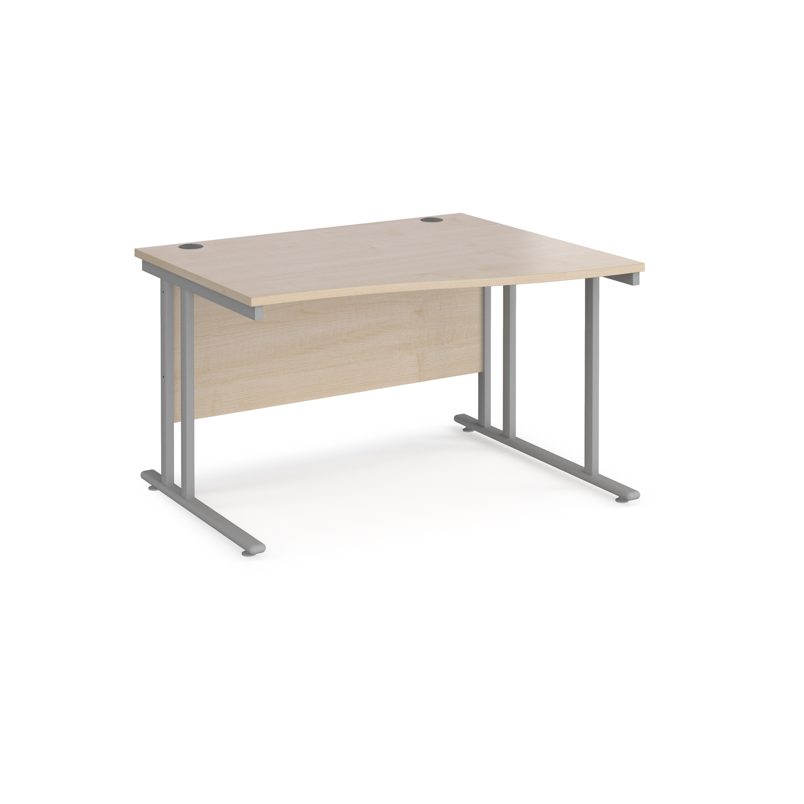 Right Handed Maestro 25 right hand wave desk 1200mm wide - silver cantilever leg frame, maple top