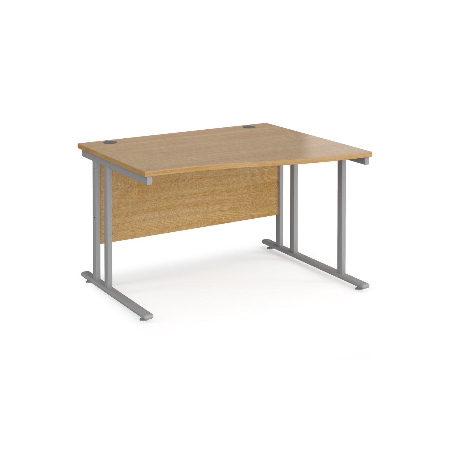 Right Handed Maestro 25 right hand wave desk 1200mm wide - silver cantilever leg frame, oak top