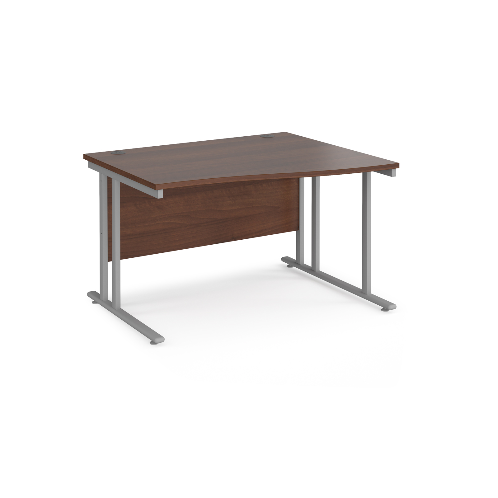Right Handed Maestro 25 right hand wave desk 1200mm wide - silver cantilever leg frame, walnut top