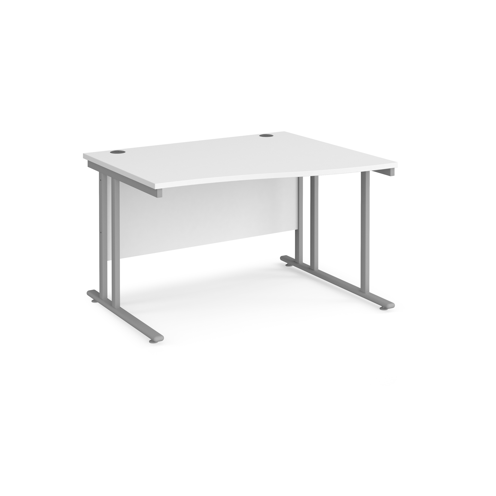 Right Handed Maestro 25 right hand wave desk 1200mm wide - silver cantilever leg frame, white top
