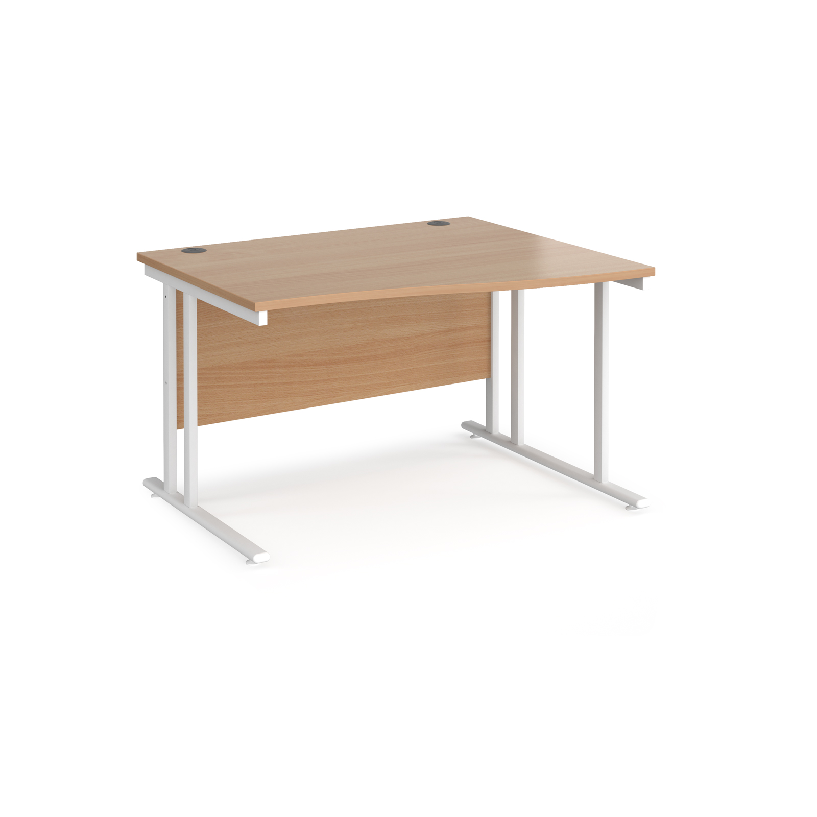 Right Handed Maestro 25 right hand wave desk 1200mm wide - white cantilever leg frame, beech top