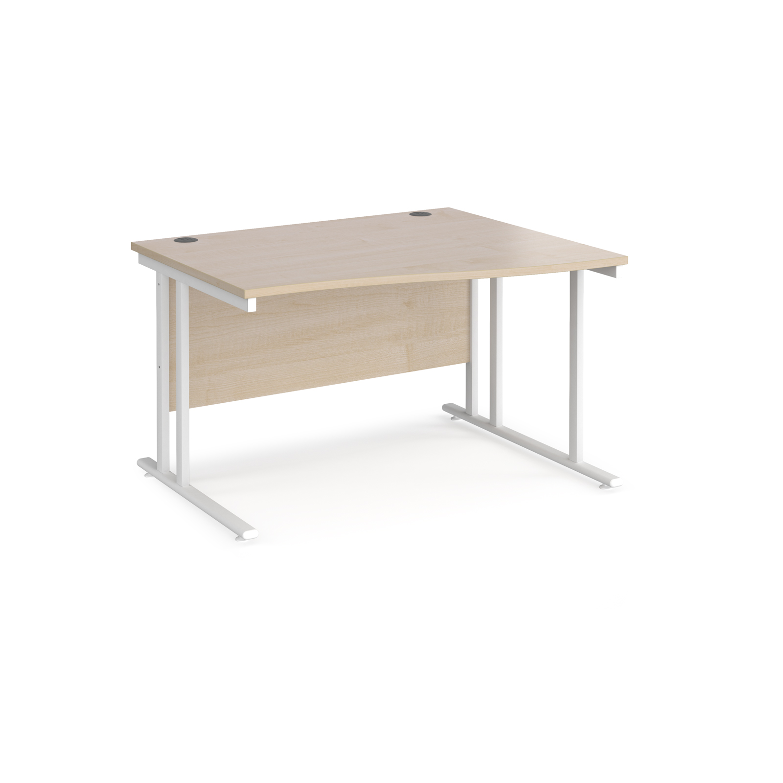 Right Handed Maestro 25 right hand wave desk 1200mm wide - white cantilever leg frame, maple top