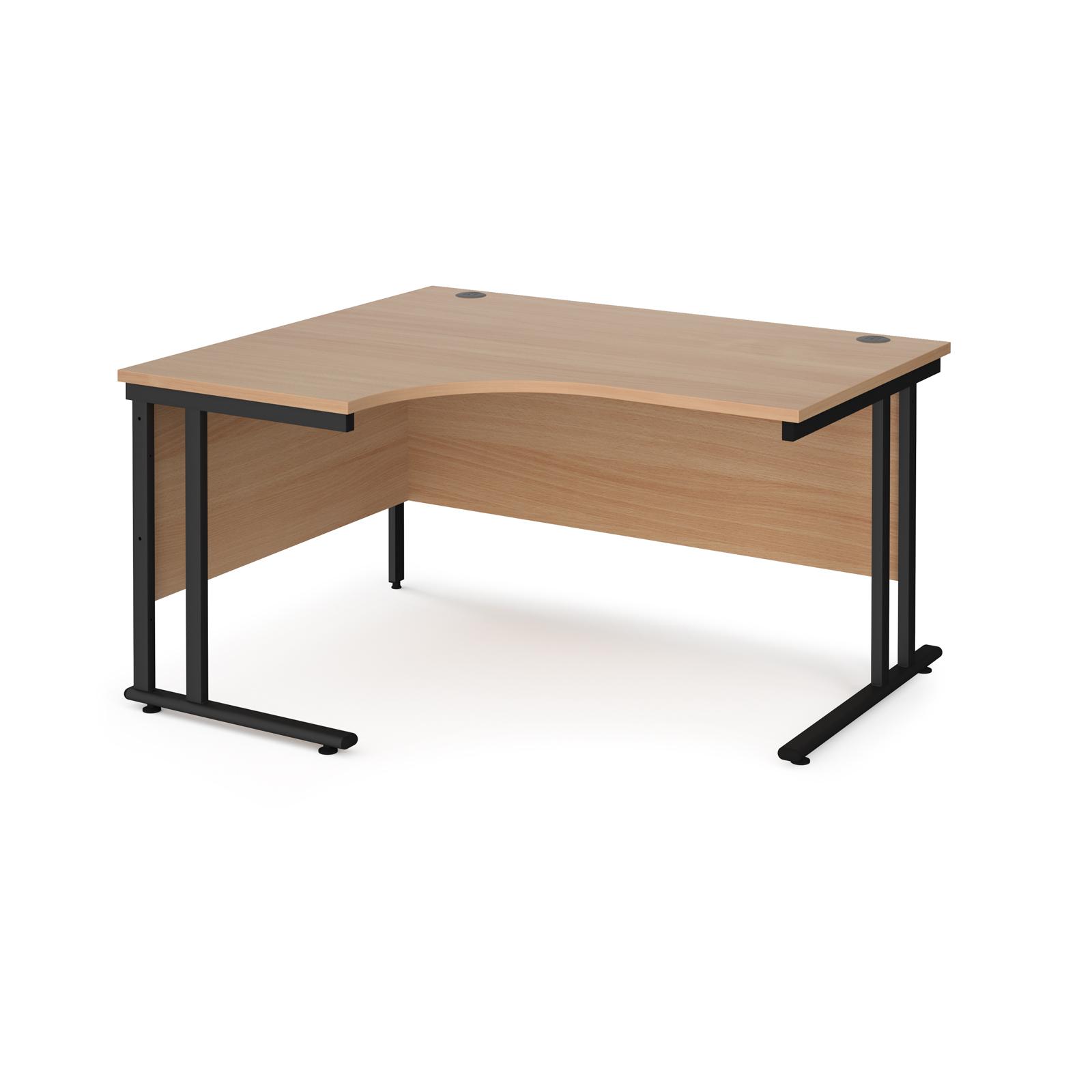 Left Handed Maestro 25 left hand ergonomic desk 1400mm wide - black cantilever leg frame, beech top