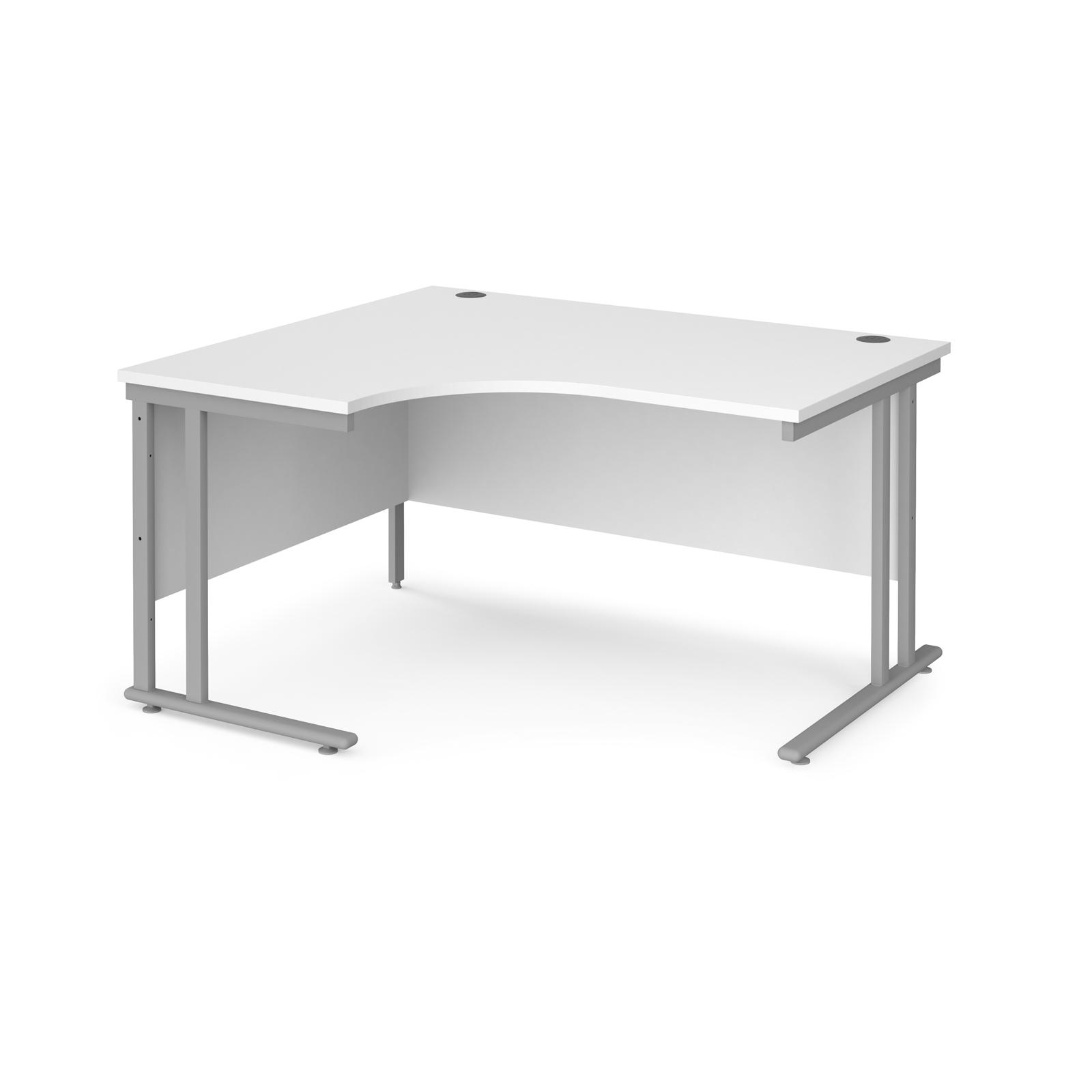 Left Handed Maestro 25 left hand ergonomic desk 1400mm wide - silver cantilever leg frame, white top