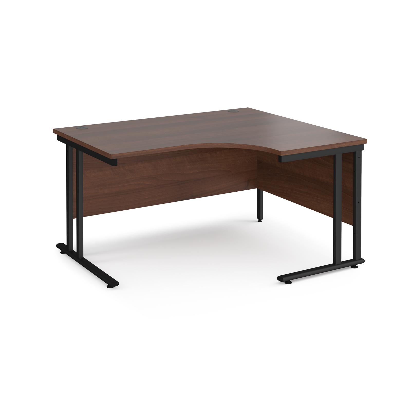 Right Handed Maestro 25 right hand ergonomic desk 1400mm wide - black cantilever leg frame, walnut top