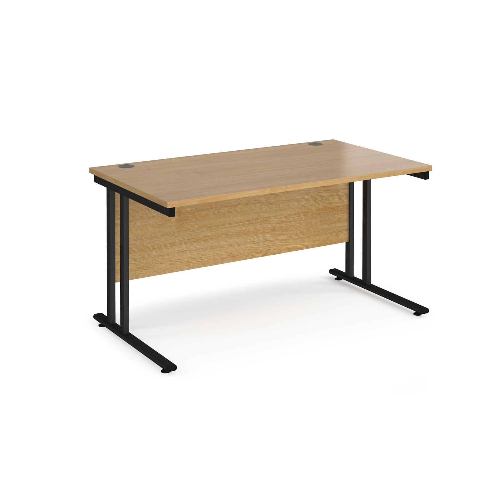 Rectangular Desks Maestro 25 straight desk 1400mm x 800mm - black cantilever leg frame, oak top