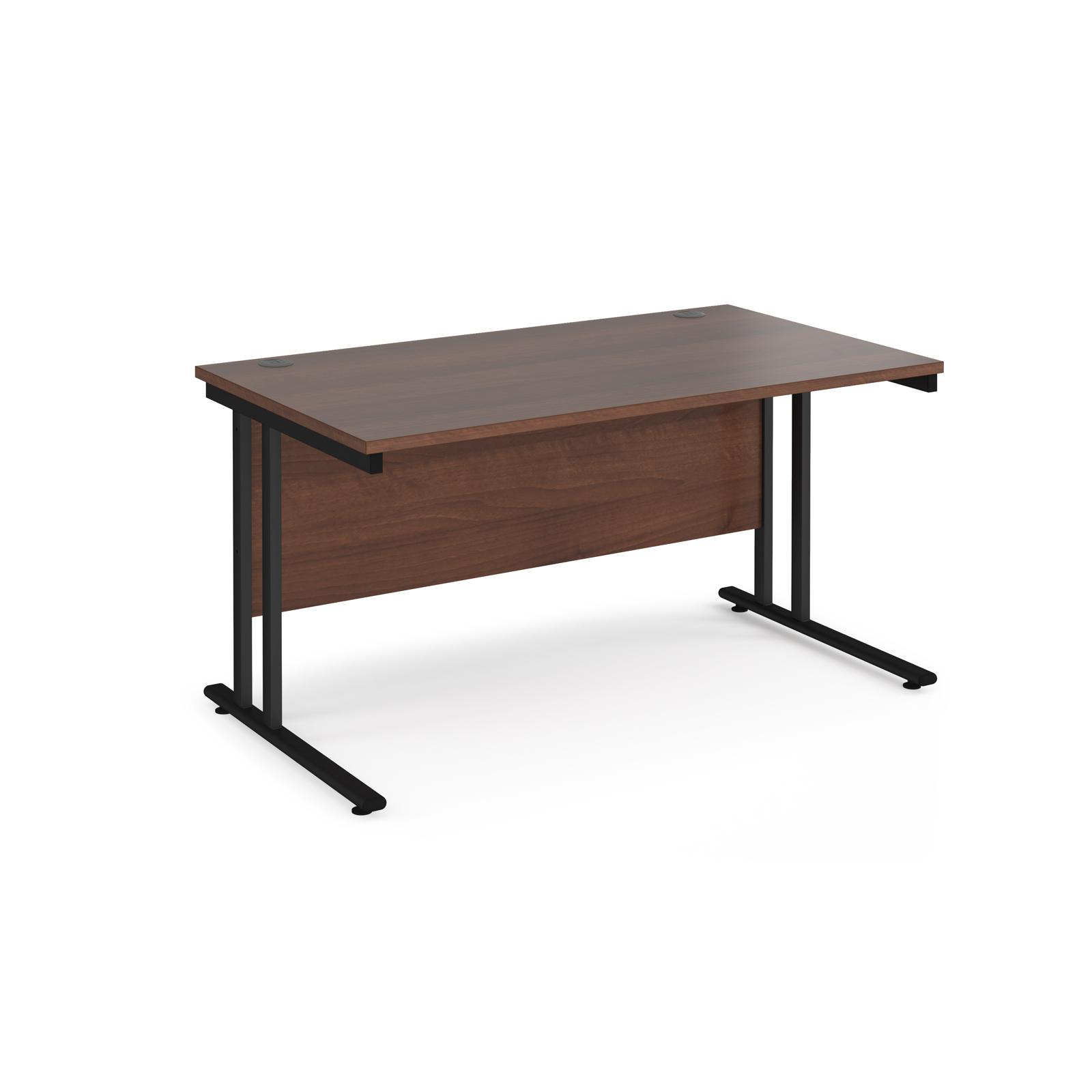 Rectangular Desks Maestro 25 straight desk 1400mm x 800mm - black cantilever leg frame, walnut top