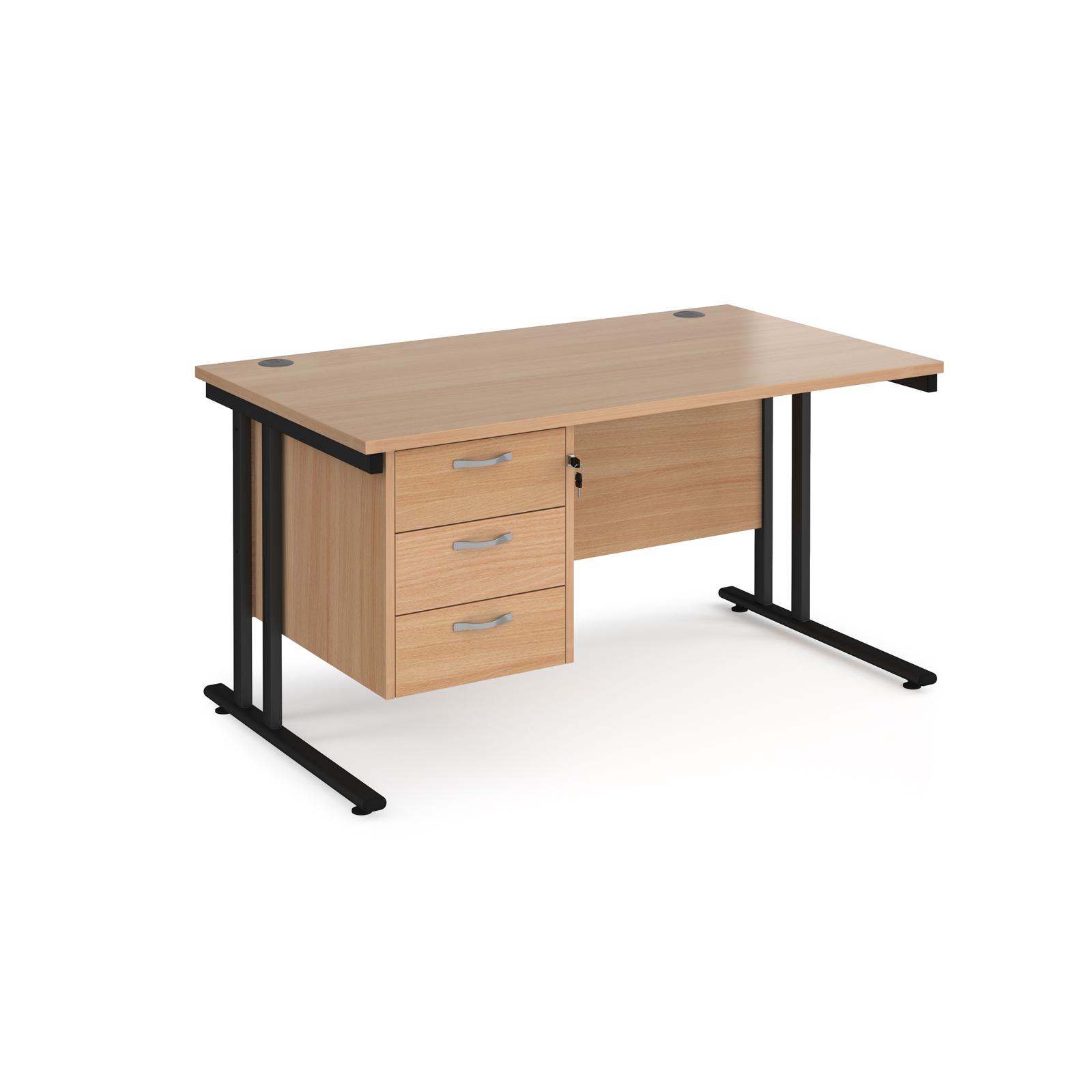 Rectangular Desks Maestro 25 straight desk 1400mm x 800mm with 3 drawer pedestal - black cantilever leg frame, beech top