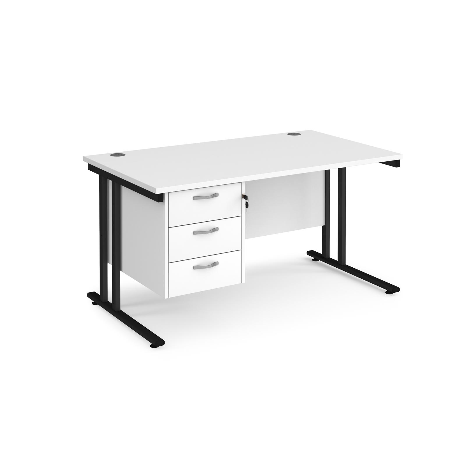 Rectangular Desks Maestro 25 straight desk 1400mm x 800mm with 3 drawer pedestal - black cantilever leg frame, white top