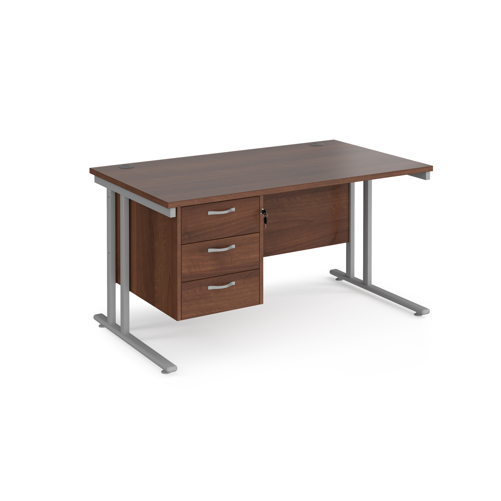 Rectangular Desks Maestro 25 straight desk 1400mm x 800mm with 3 drawer pedestal - silver cantilever leg frame, walnut top