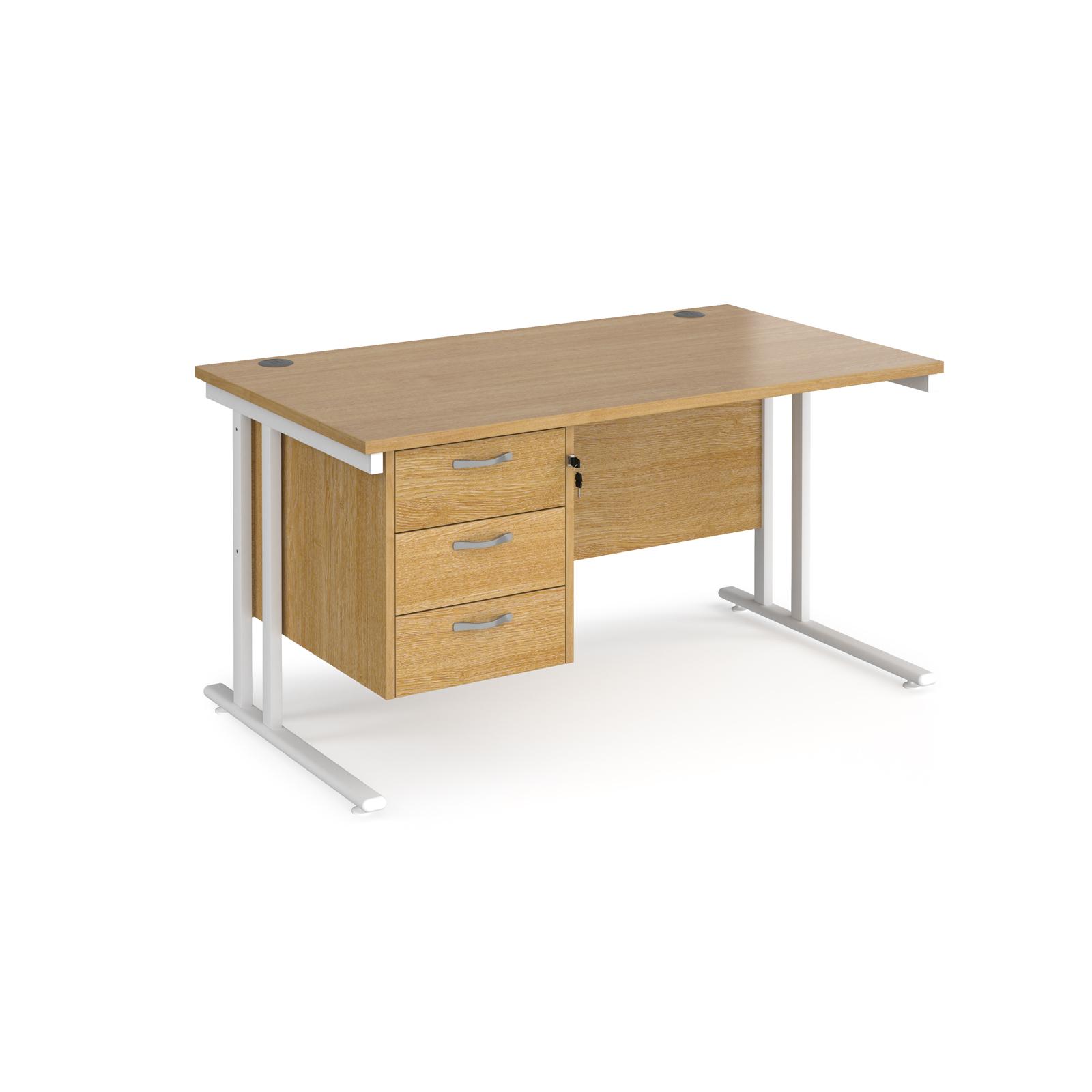 Rectangular Desks Maestro 25 straight desk 1400mm x 800mm with 3 drawer pedestal - white cantilever leg frame, oak top