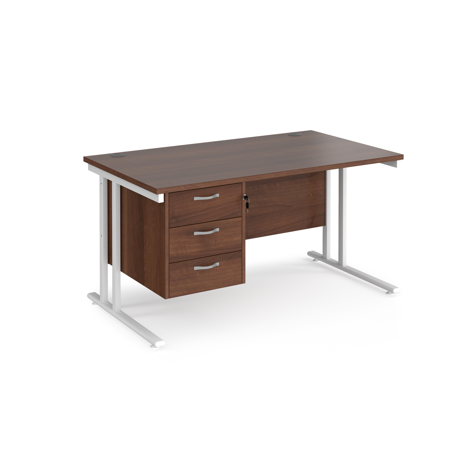 Rectangular Desks Maestro 25 straight desk 1400mm x 800mm with 3 drawer pedestal - white cantilever leg frame, walnut top