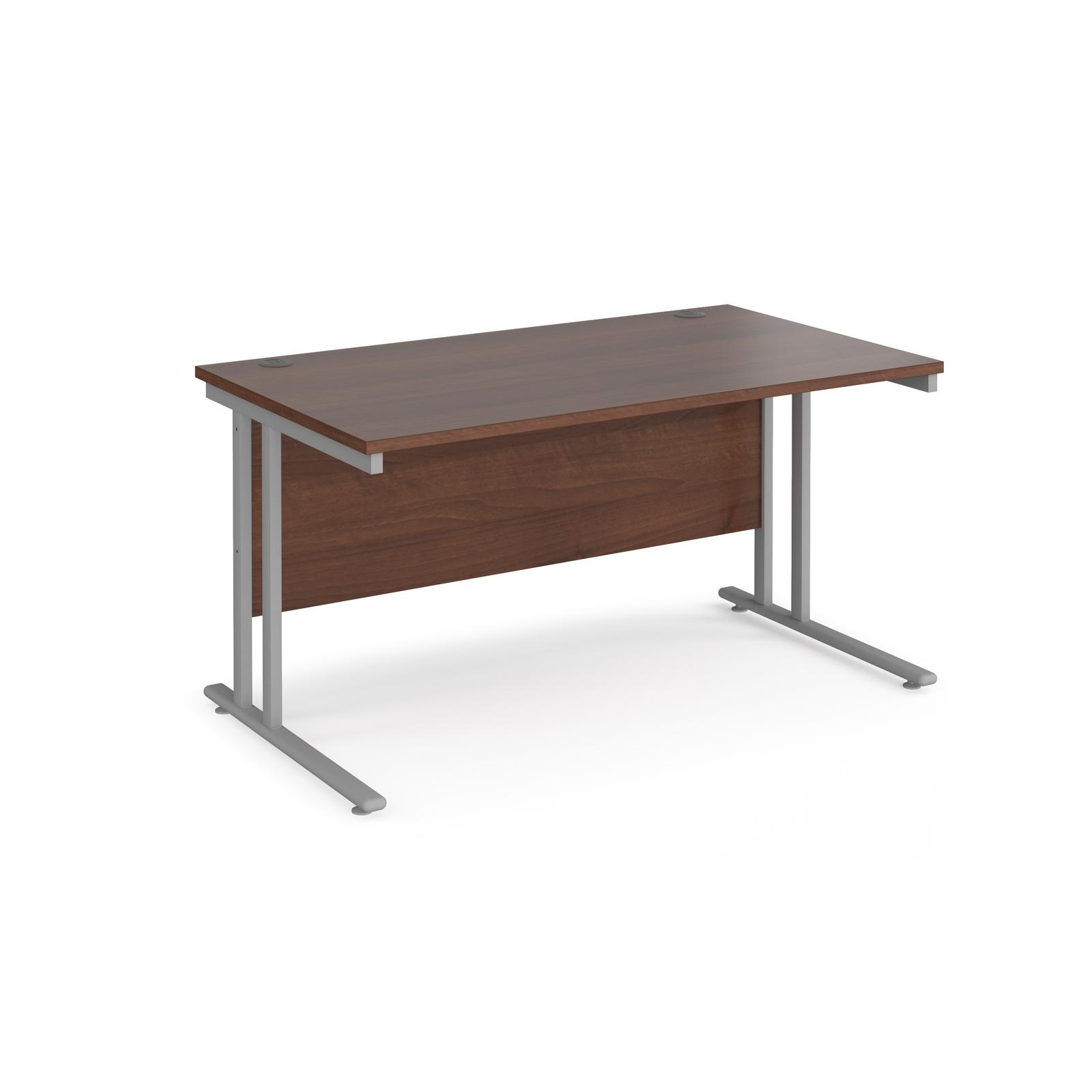 Rectangular Desks Maestro 25 straight desk 1400mm x 800mm - silver cantilever leg frame, walnut top