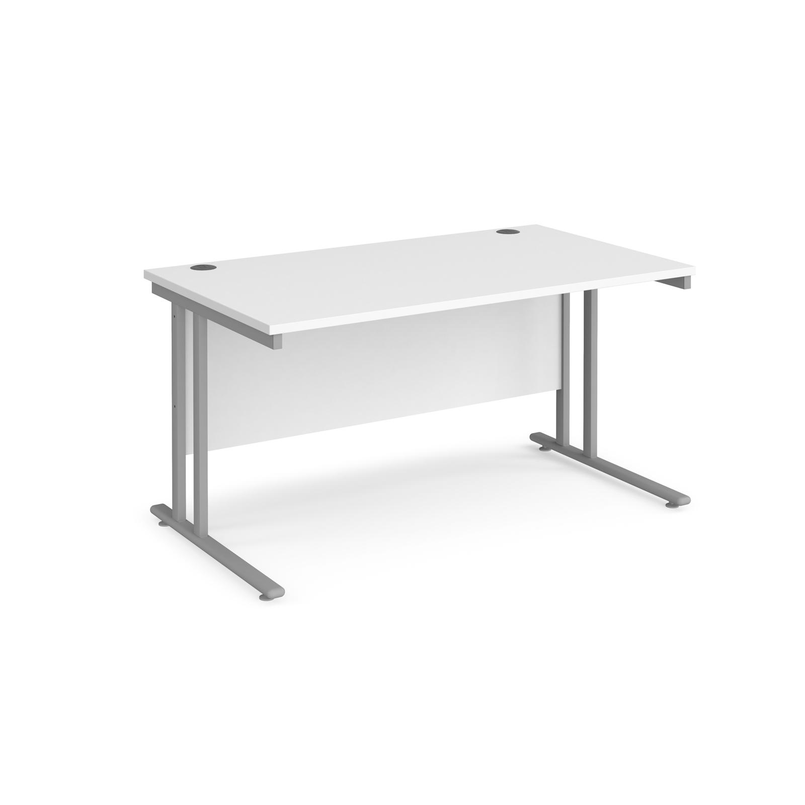 Rectangular Desks Maestro 25 straight desk 1400mm x 800mm - silver cantilever leg frame, white top
