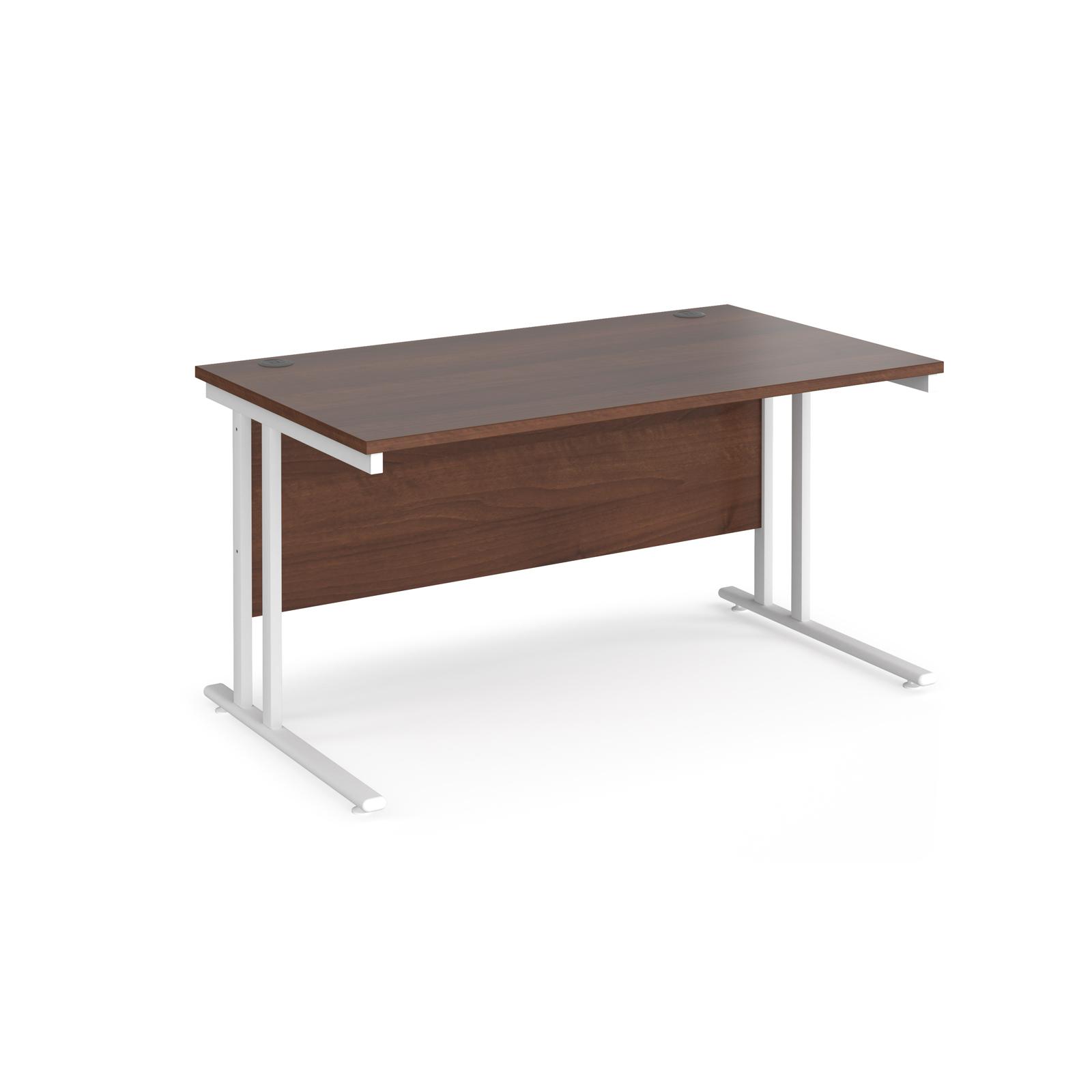Rectangular Desks Maestro 25 straight desk 1400mm x 800mm - white cantilever leg frame, walnut top