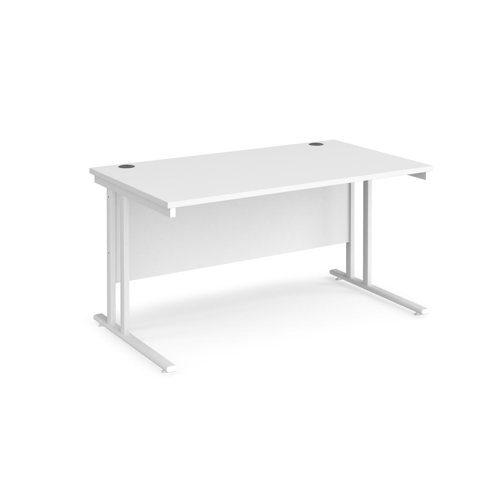 Rectangular Desks Maestro 25 straight desk 1400mm x 800mm - white cantilever leg frame, white top