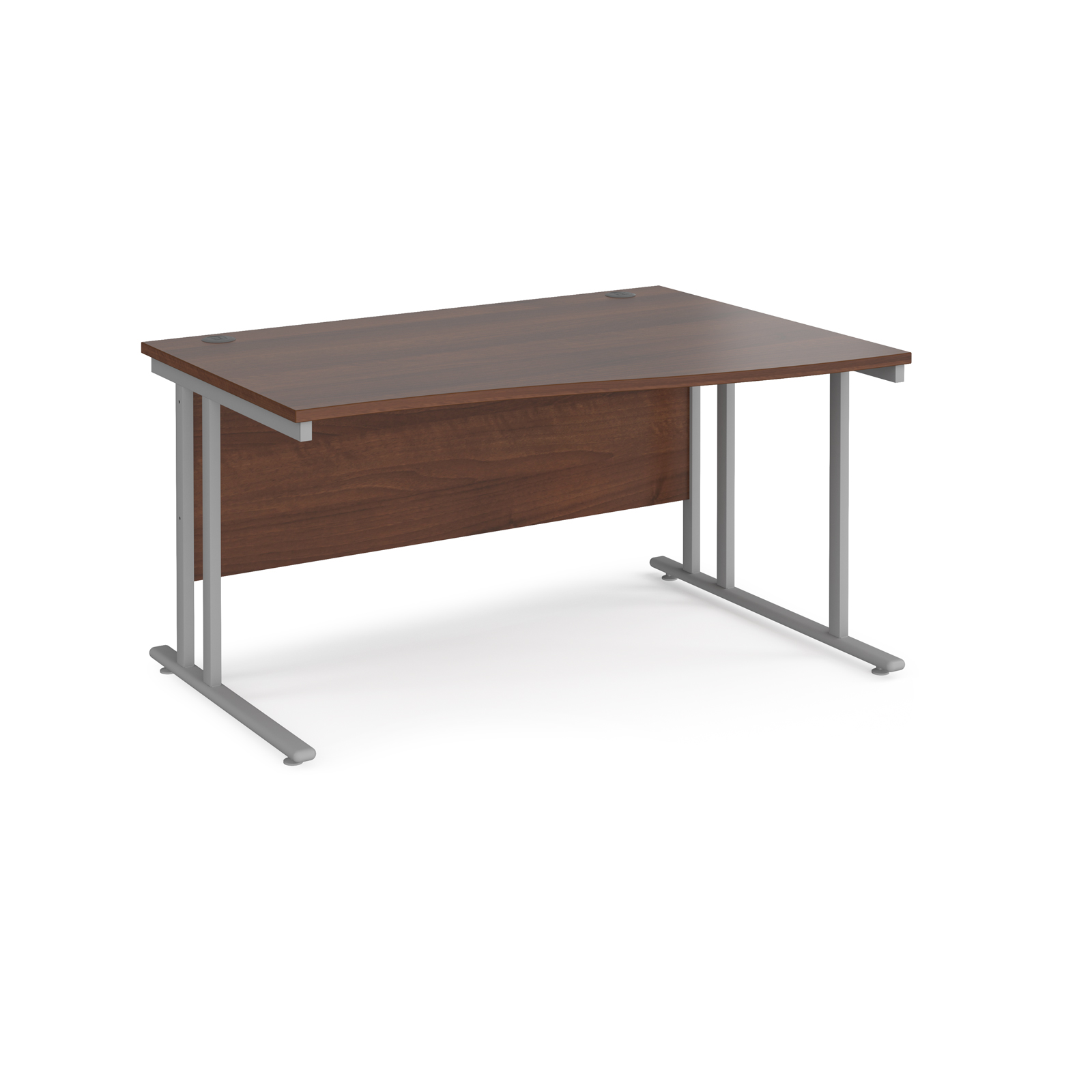 Maestro 25 right hand wave desk 1400mm wide - silver cantilever leg frame, walnut top