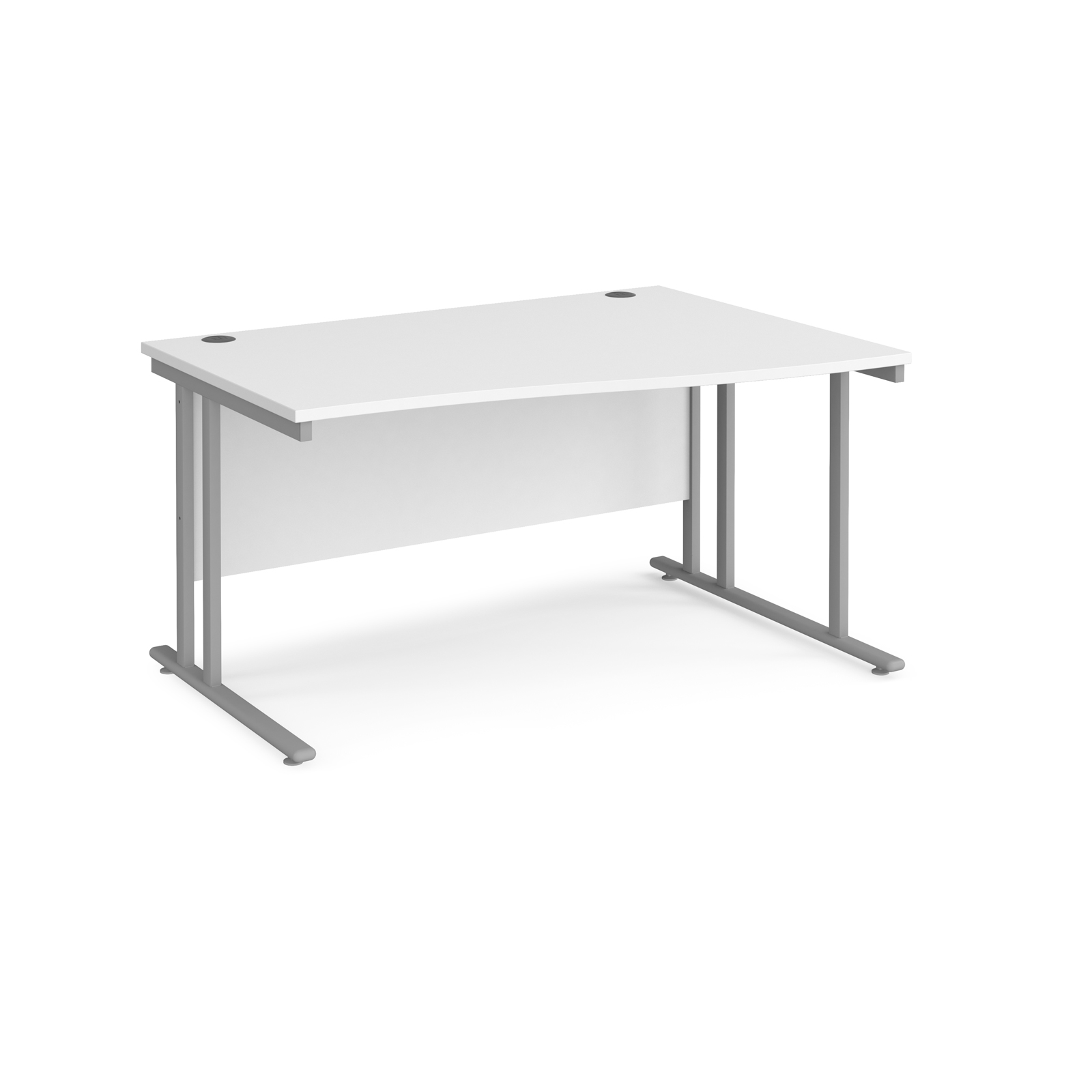 Maestro 25 right hand wave desk 1400mm wide - silver cantilever leg frame, white top