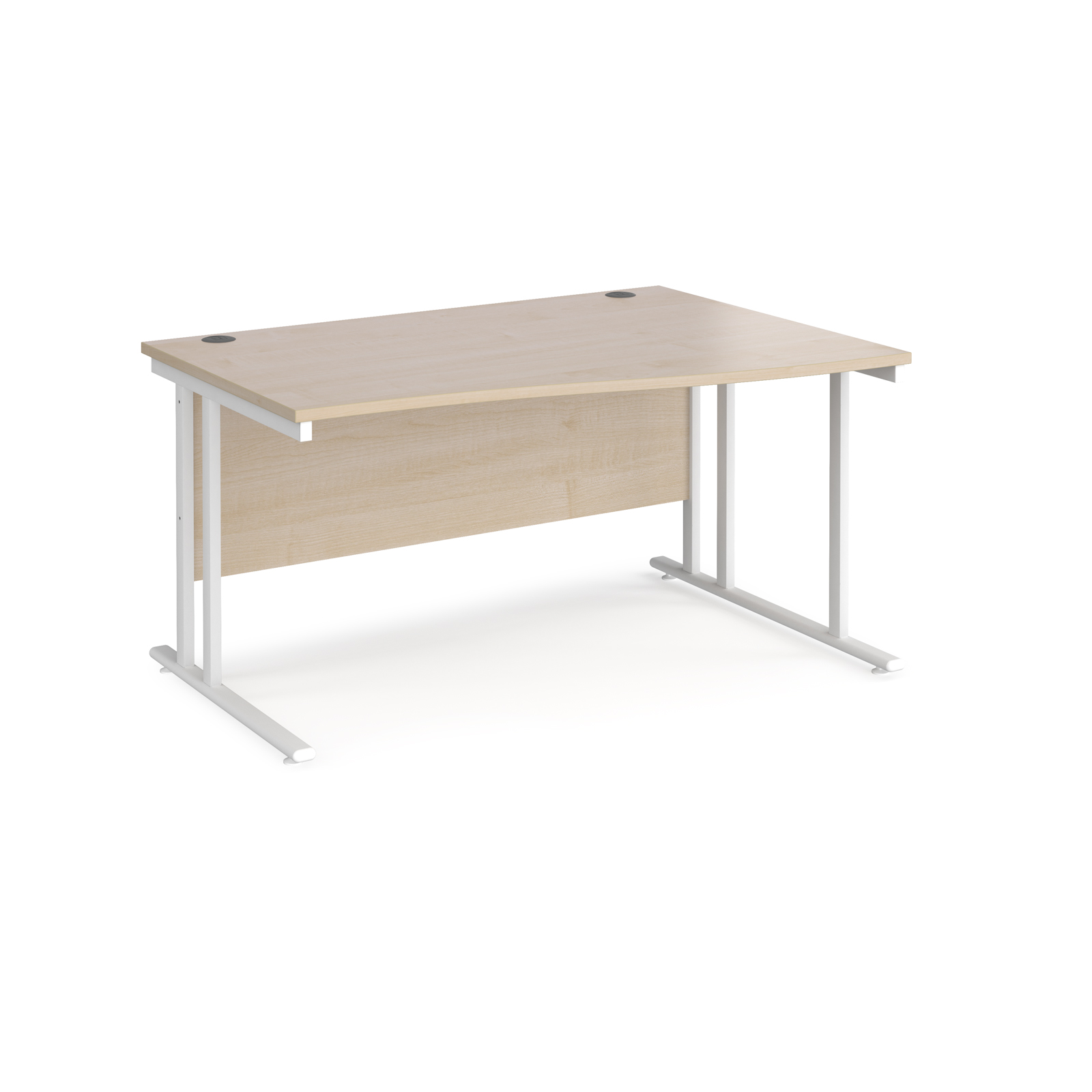 Maestro 25 right hand wave desk 1400mm wide - white cantilever leg frame, maple top