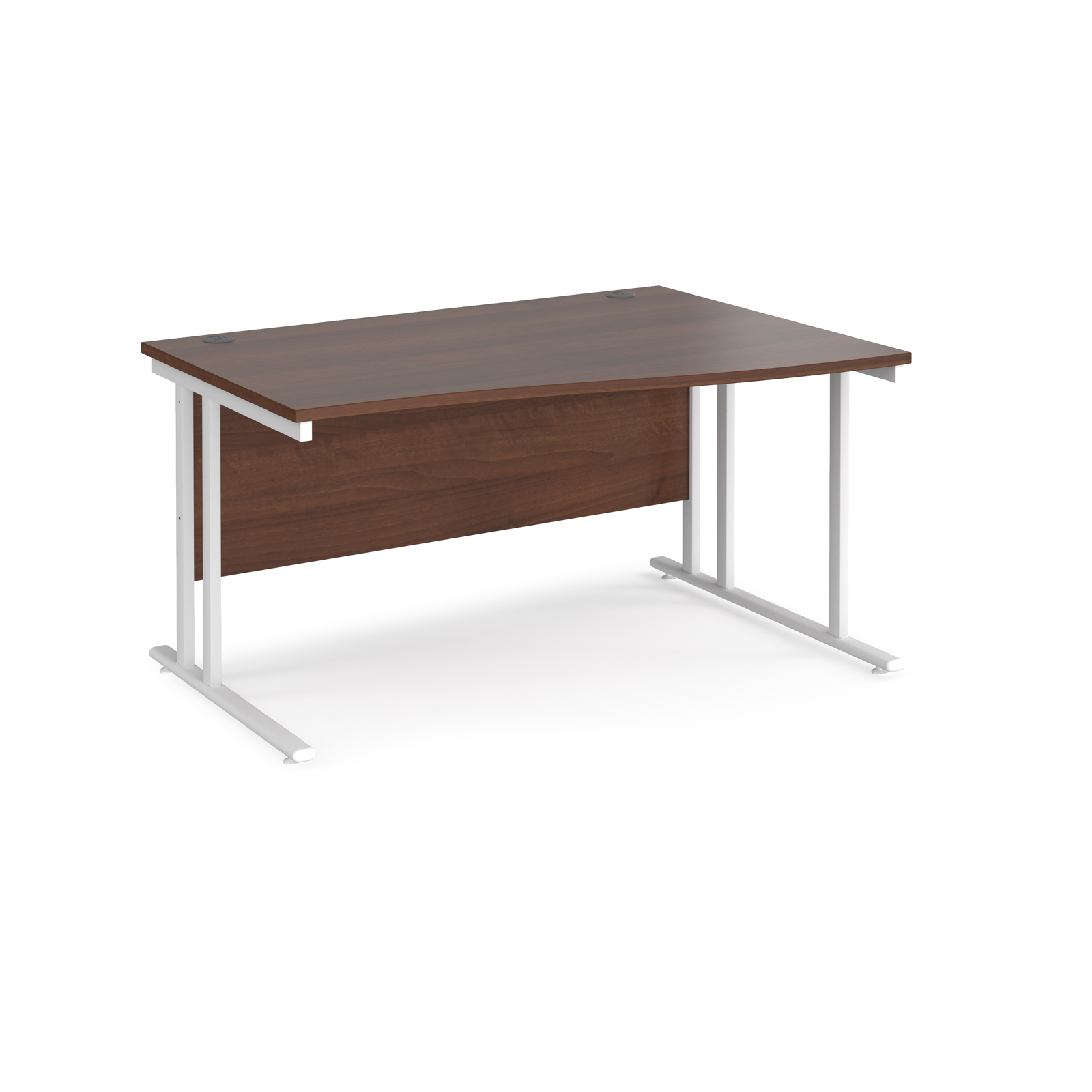 Maestro 25 right hand wave desk 1400mm wide - white cantilever leg frame, walnut top