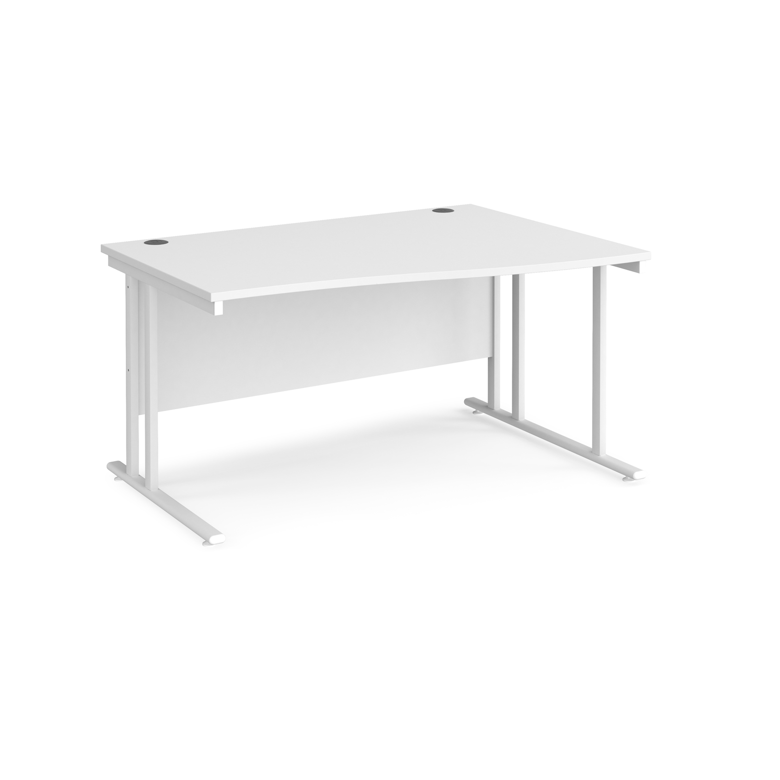 Maestro 25 right hand wave desk 1400mm wide - white cantilever leg frame, white top