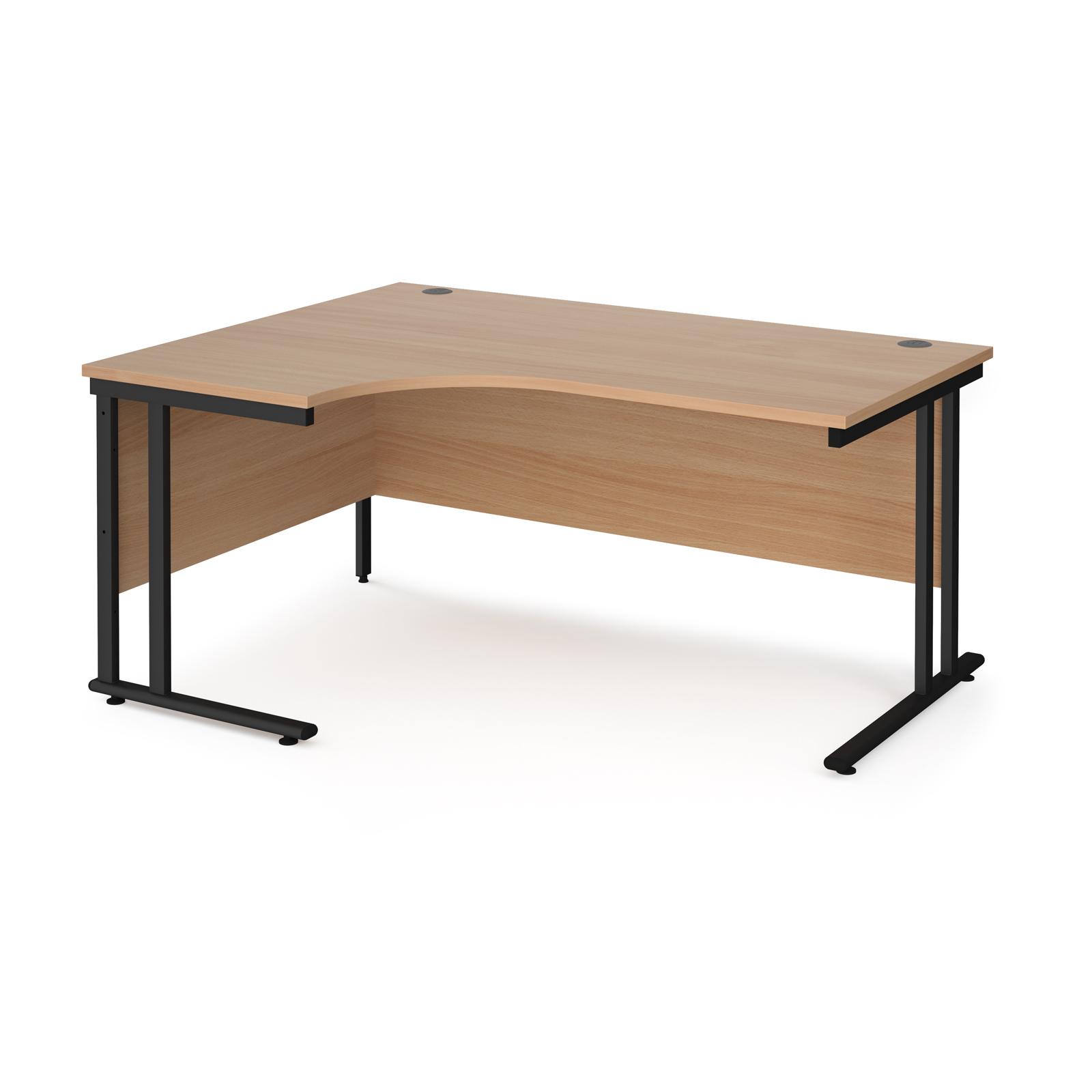 Maestro 25 left hand ergonomic desk 1600mm wide - black cantilever leg frame, beech top
