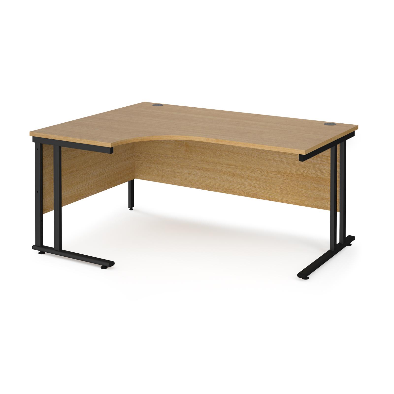 Maestro 25 left hand ergonomic desk 1600mm wide - black cantilever leg frame, oak top