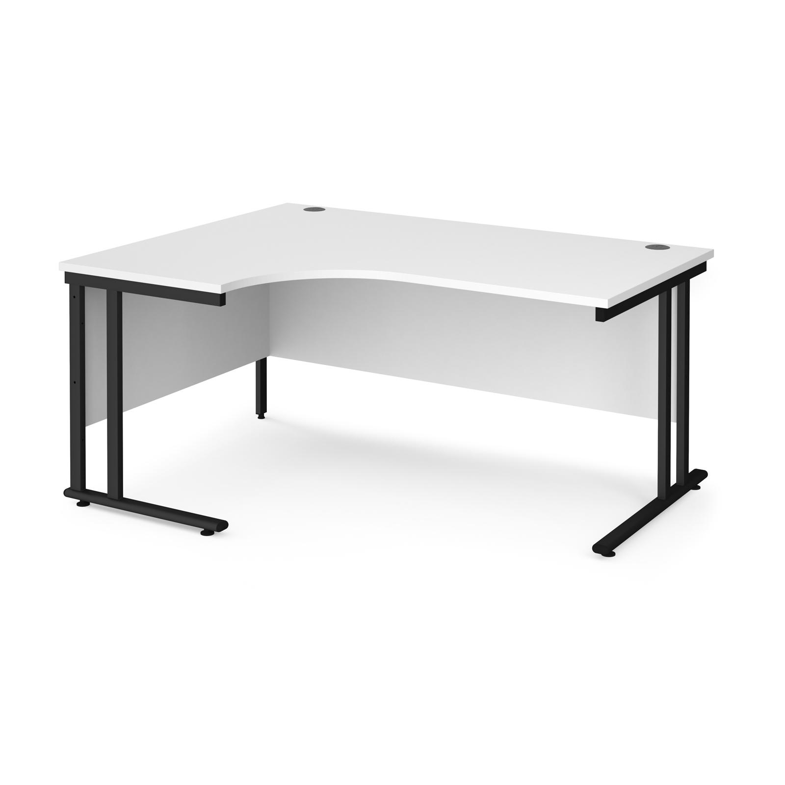 Maestro 25 left hand ergonomic desk 1600mm wide - black cantilever leg frame, white top