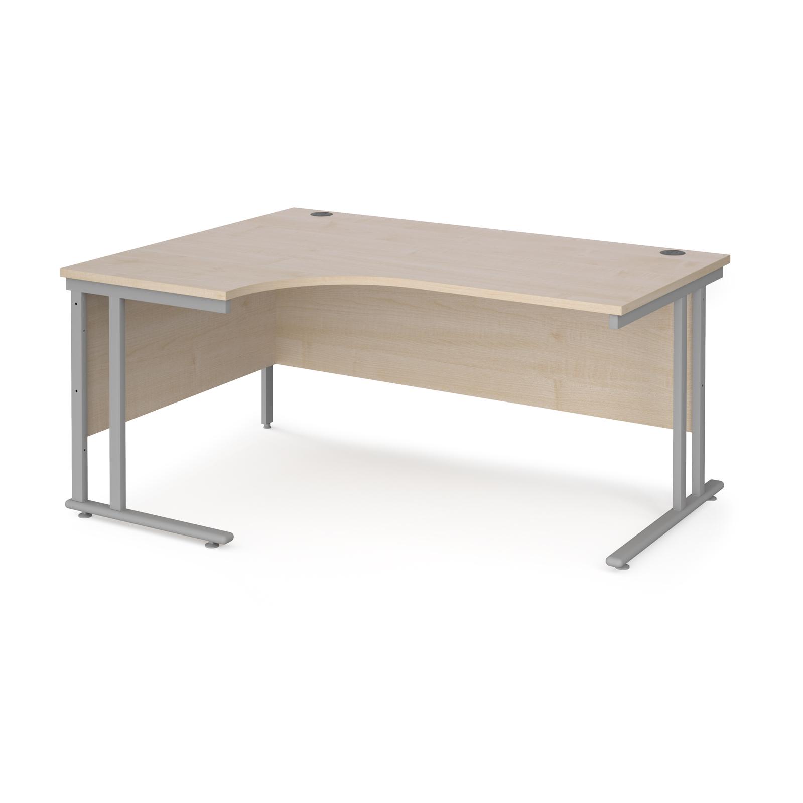 Maestro 25 left hand ergonomic desk 1600mm wide - silver cantilever leg frame, maple top