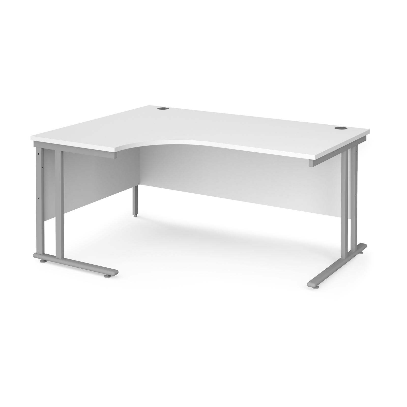 Maestro 25 left hand ergonomic desk 1600mm wide - silver cantilever leg frame, white top