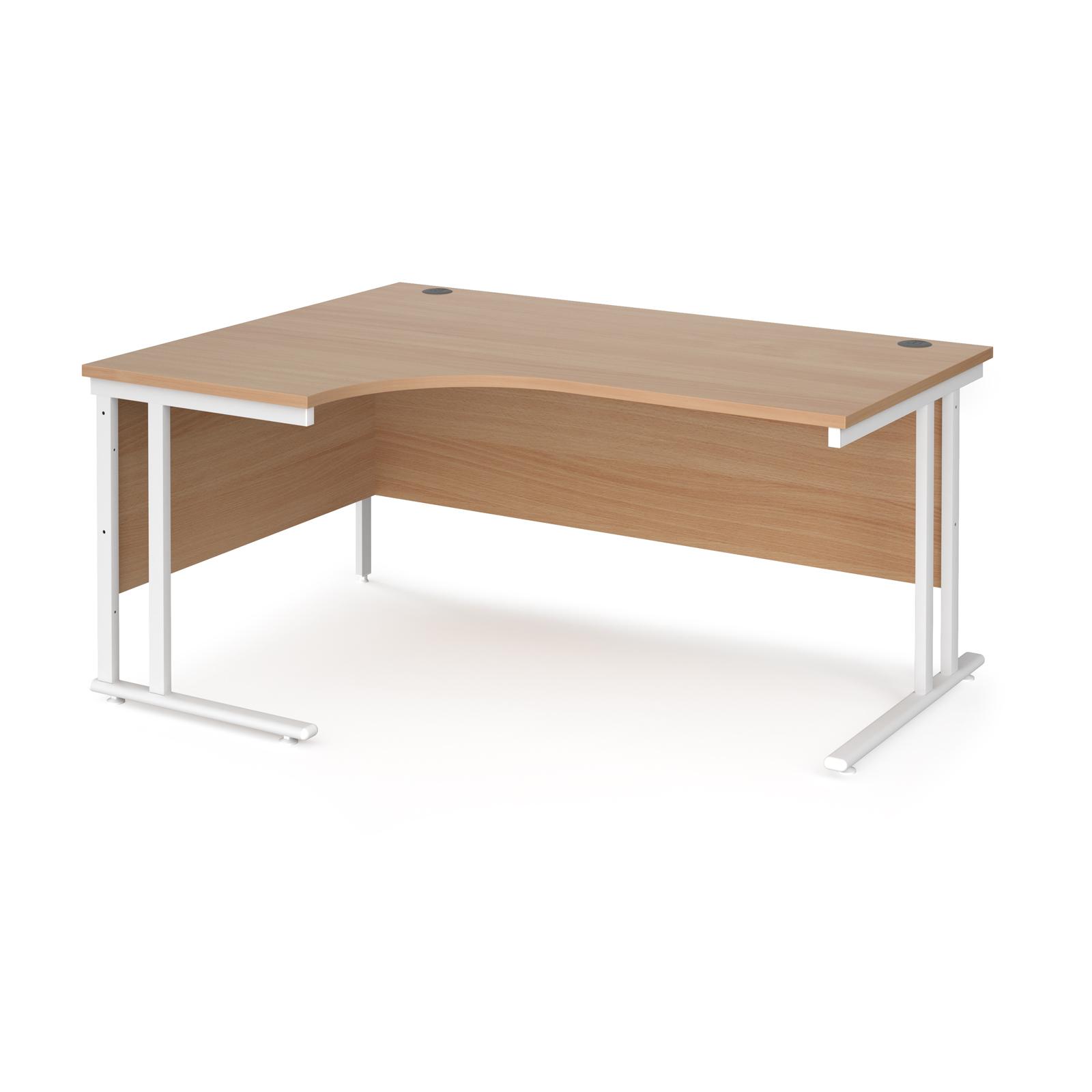 Maestro 25 left hand ergonomic desk 1600mm wide - white cantilever leg frame, beech top