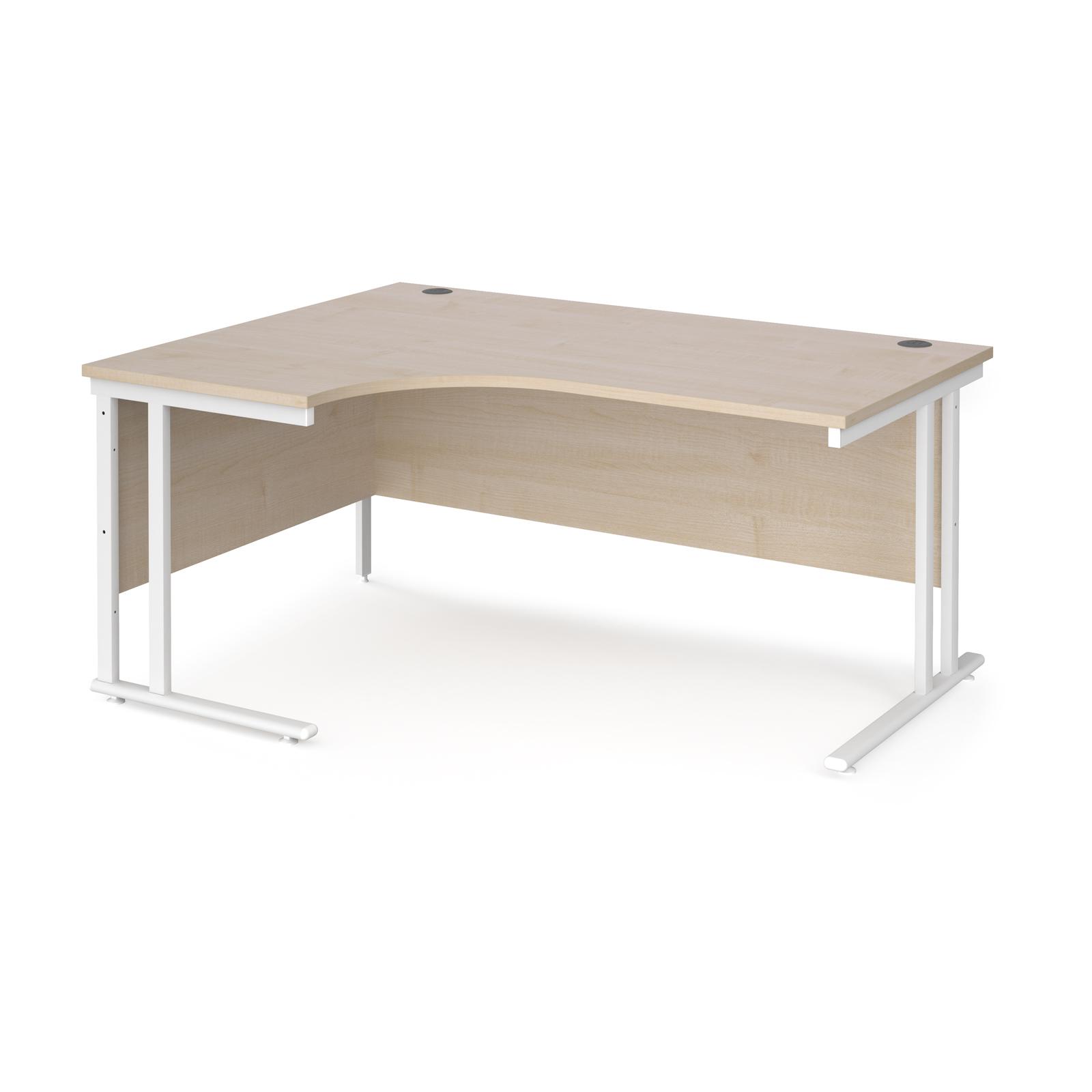 Maestro 25 left hand ergonomic desk 1600mm wide - white cantilever leg frame, maple top