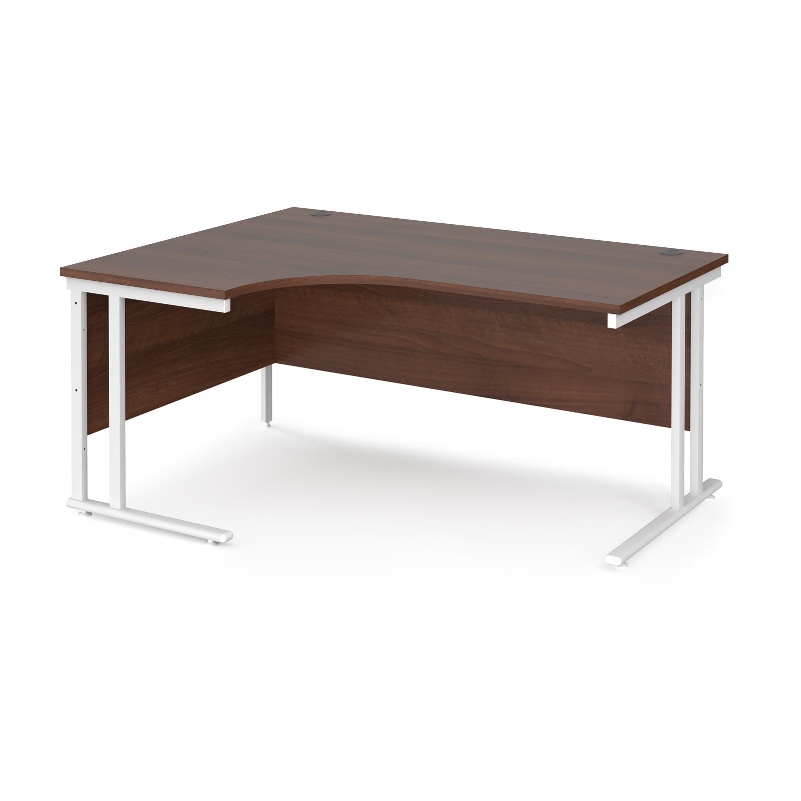 Maestro 25 left hand ergonomic desk 1600mm wide - white cantilever leg frame, walnut top