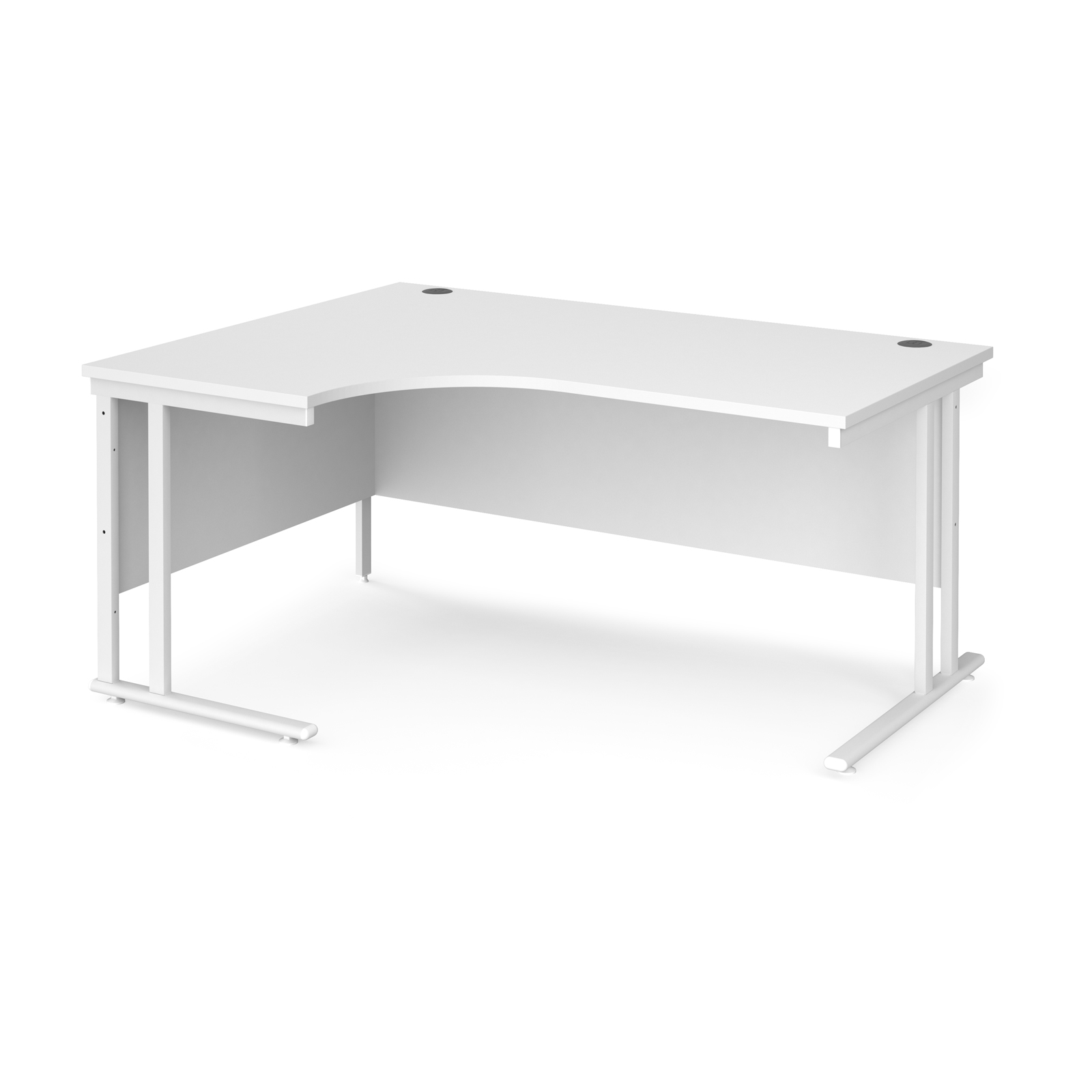 Maestro 25 left hand ergonomic desk 1600mm wide - white cantilever leg frame, white top
