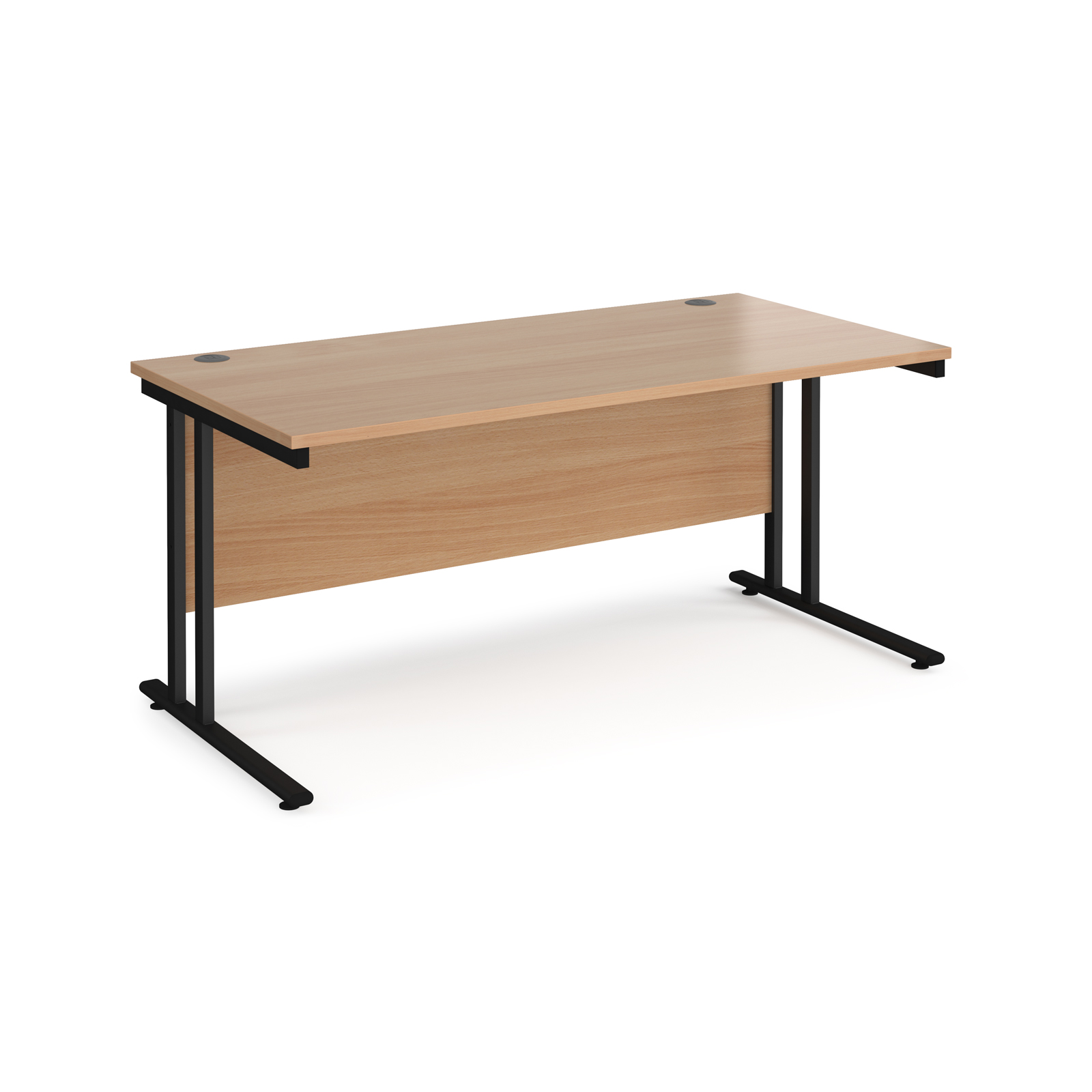 Maestro 25 straight desk 1600mm x 800mm - black cantilever leg frame, beech top