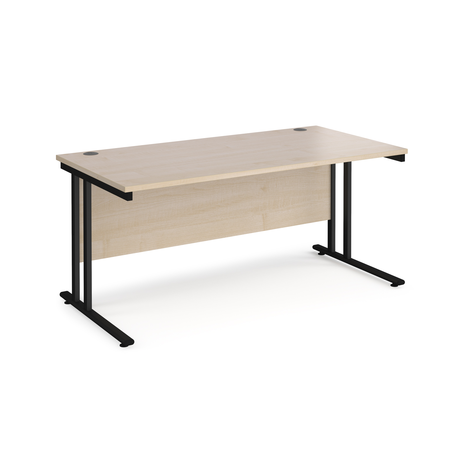Maestro 25 straight desk 1600mm x 800mm - black cantilever leg frame, maple top